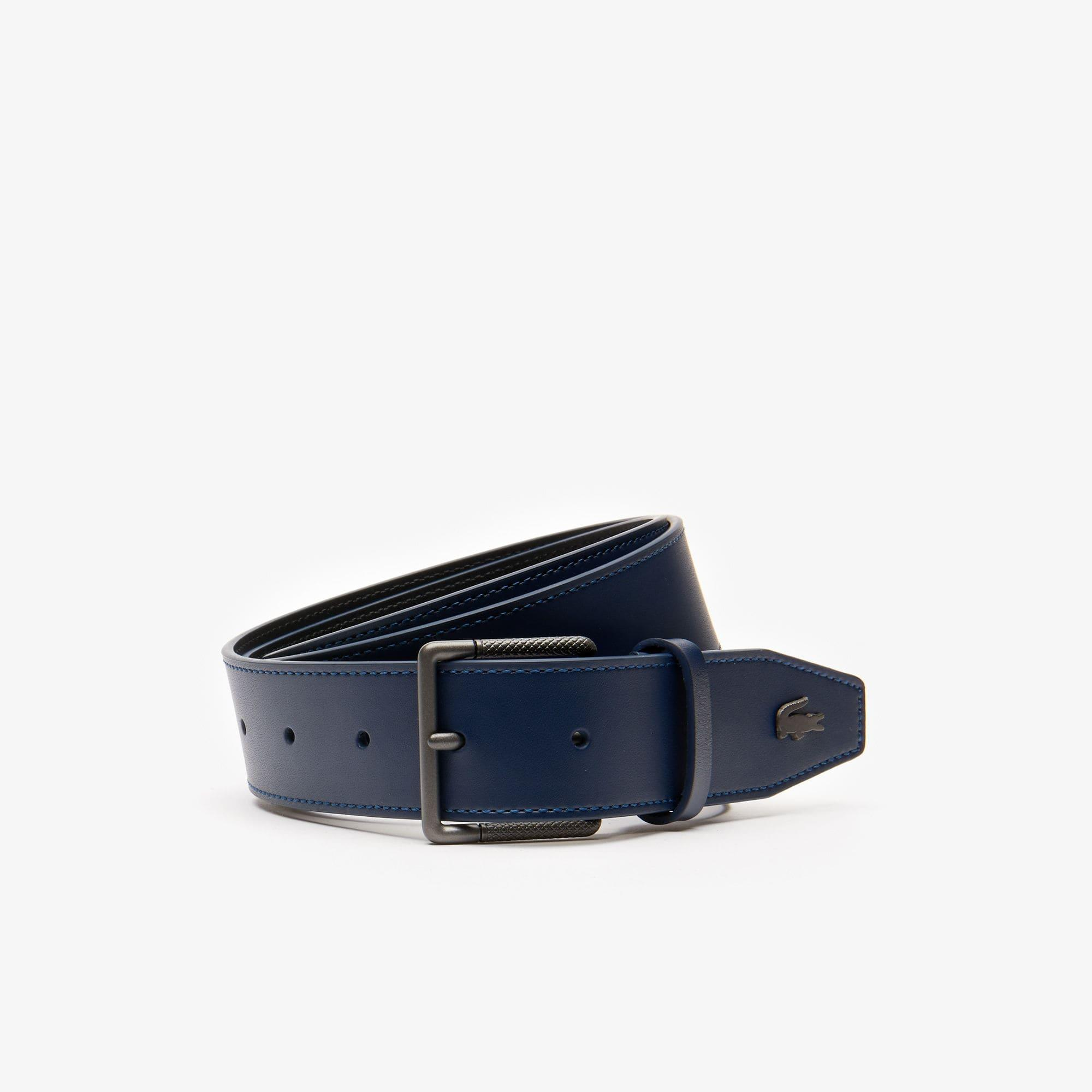 39ad31c32a Lyst - Lacoste Engraved Buckle Leather Belt in Blue for Men