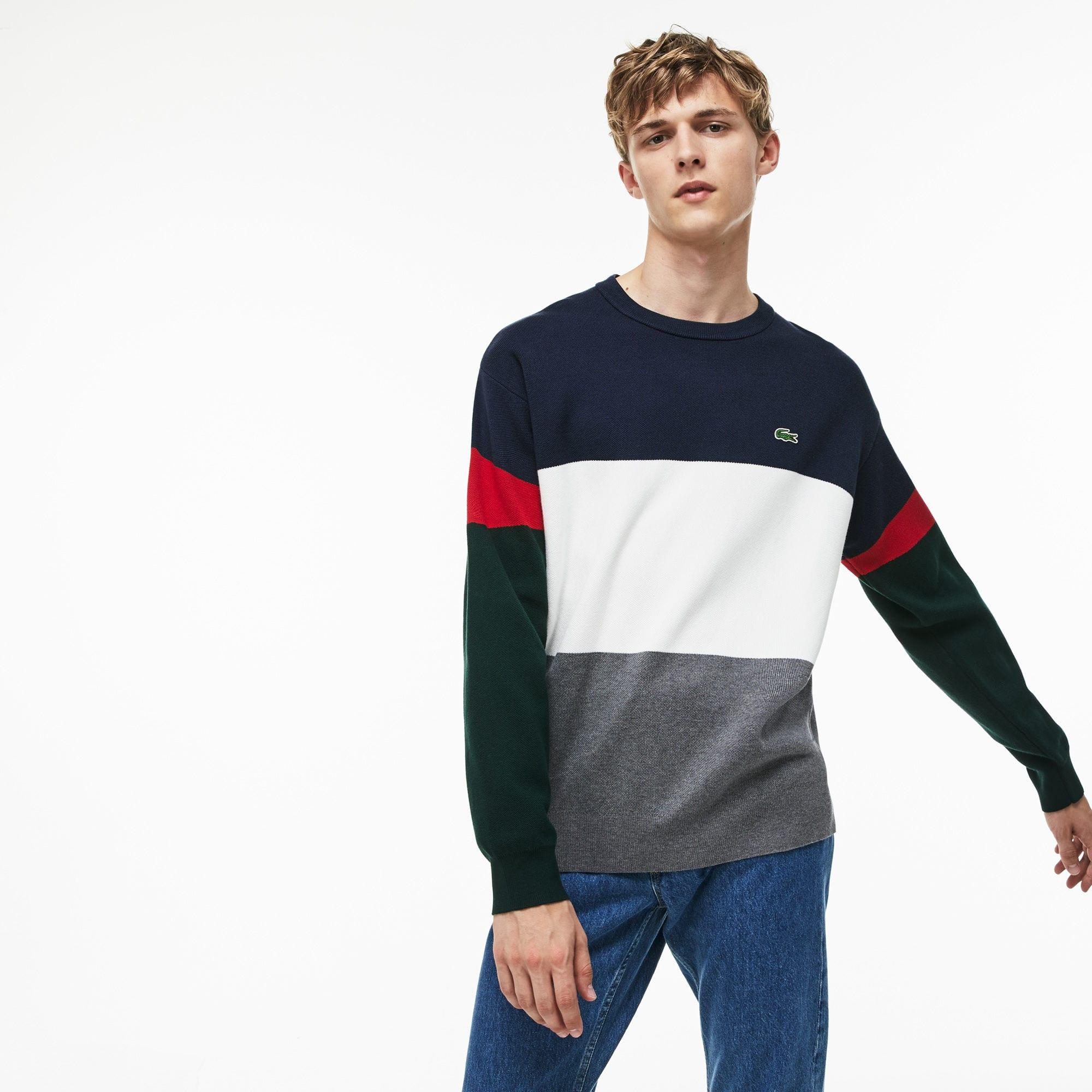 2bfd13fb303ed6 Lacoste - Blue Crew Neck Colorblock Flat Ribbed Cotton Sweater for Men -  Lyst. View fullscreen