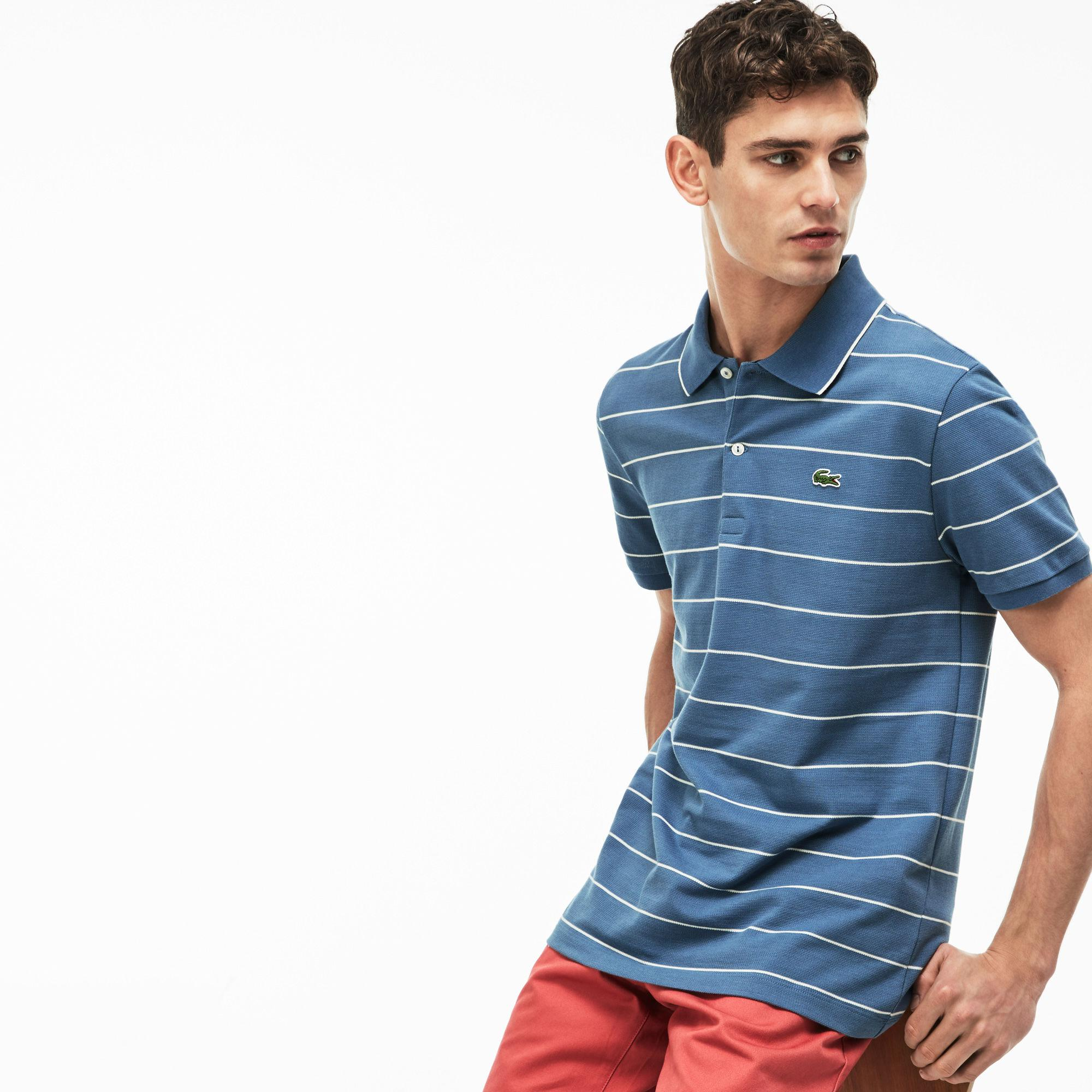 964ce6034ca009 Lyst - Lacoste Slim Fit Piped Striped Knit Polo in Blue for Men