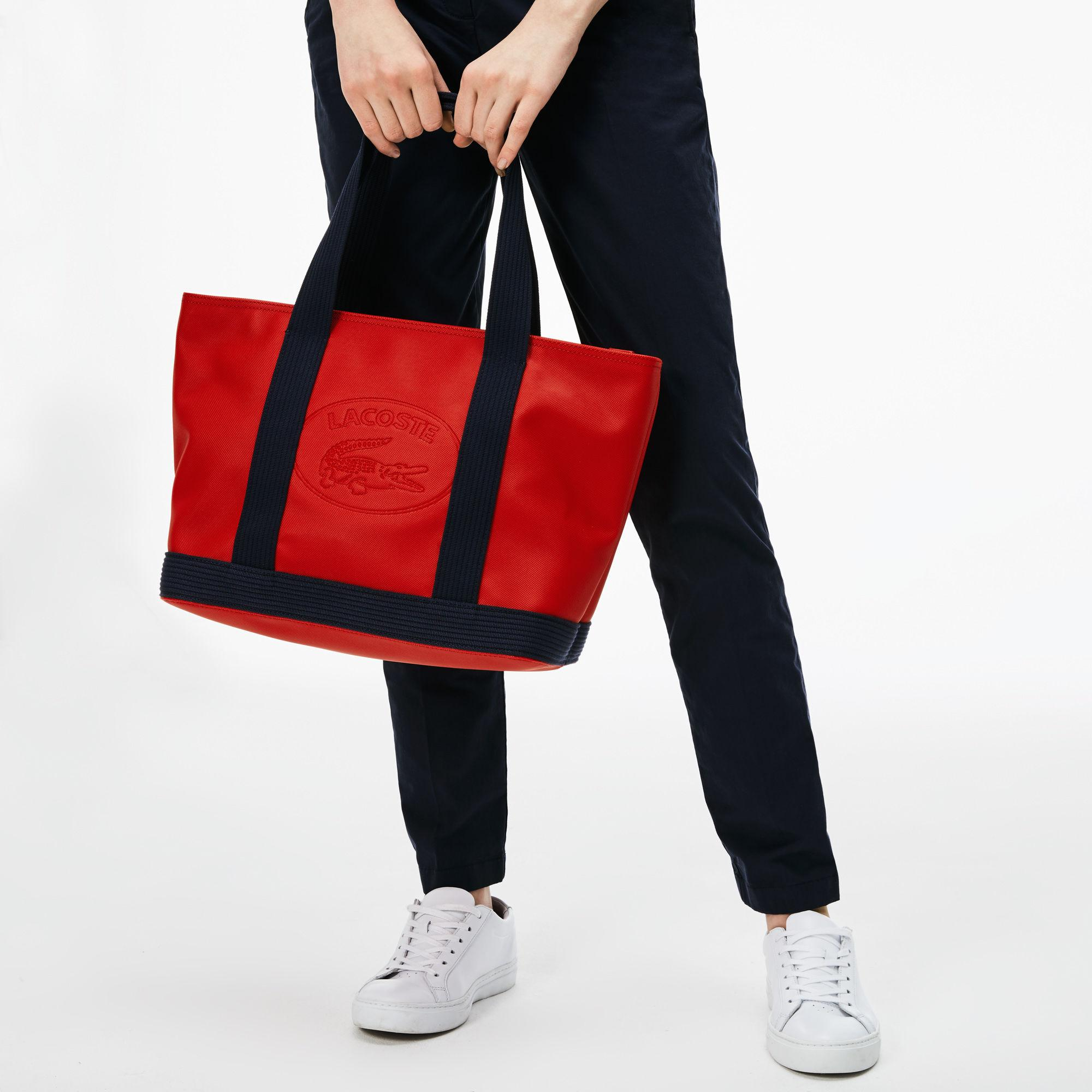 888d06bdcc3b Lyst - Lacoste Classic Coated Piqué Canvas Zip Tote Bag in Red