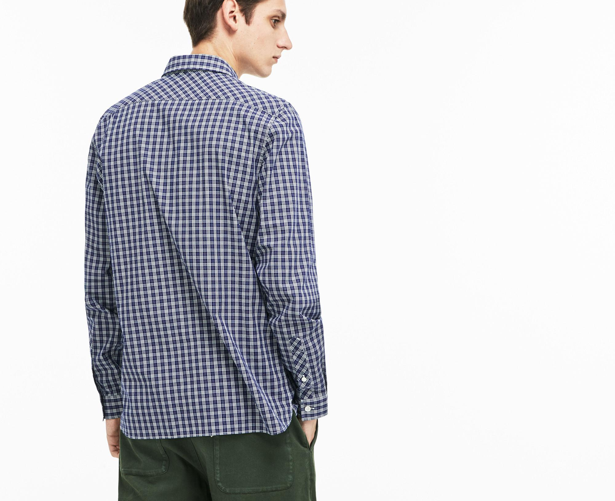 9be86e4ad96951 Lacoste - Blue Slim Fit Colored Check Stretch Cotton Poplin Shirt for Men -  Lyst. View fullscreen