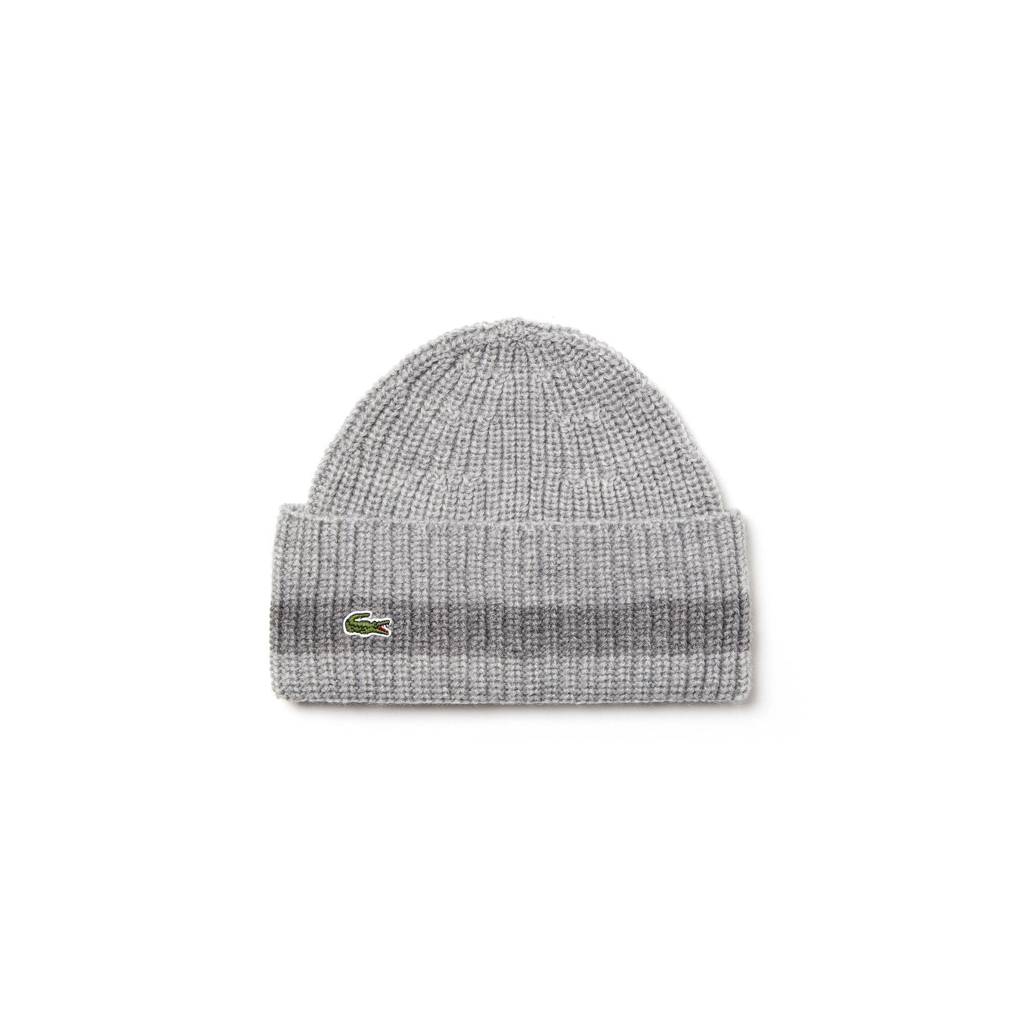 14fac61a4e3 Lyst - Lacoste Turned Edge Ribbed Wool Beanie in Gray for Men