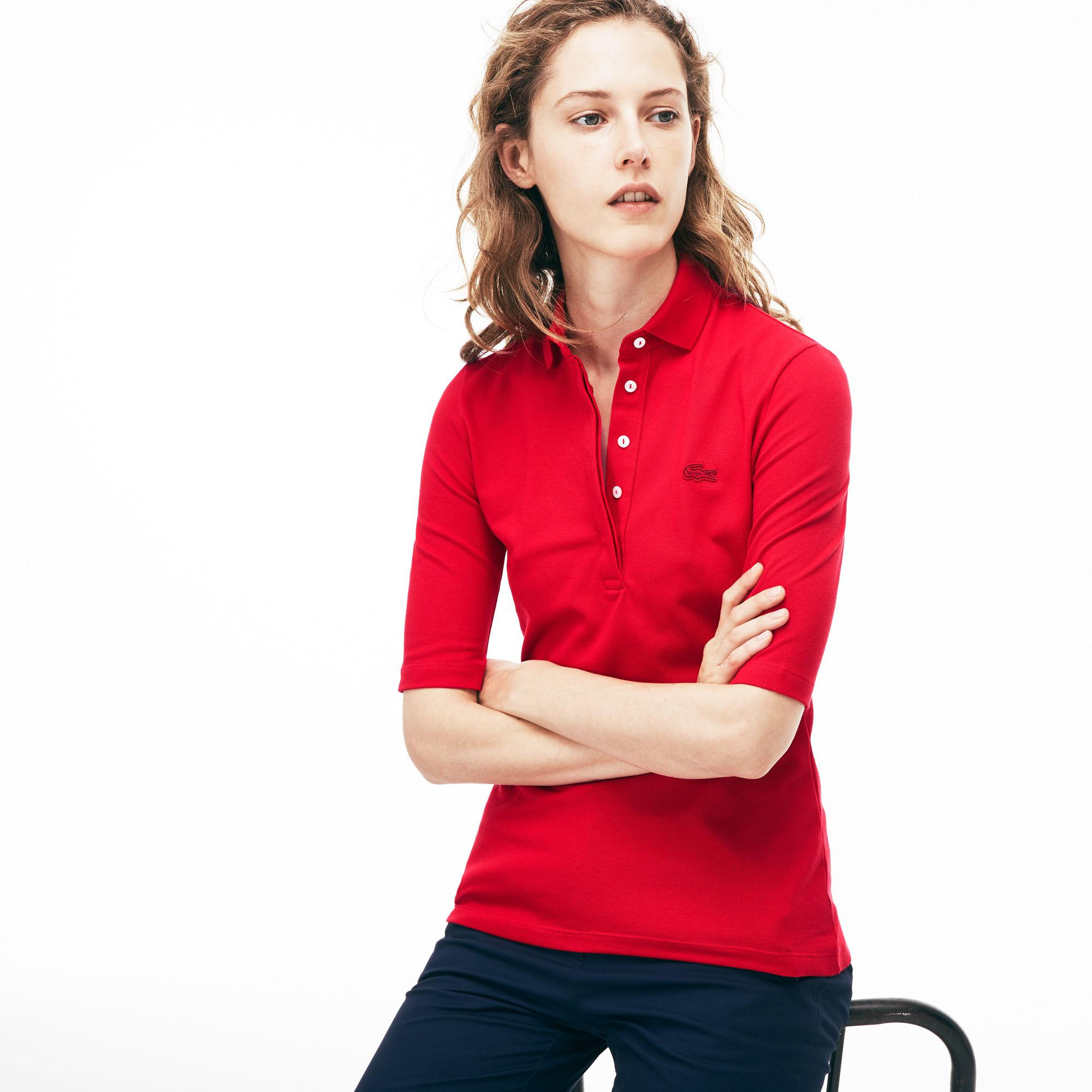 79183755f Lyst - Lacoste Slim Fit Stretch Mini Piqué Polo Shirt in Red