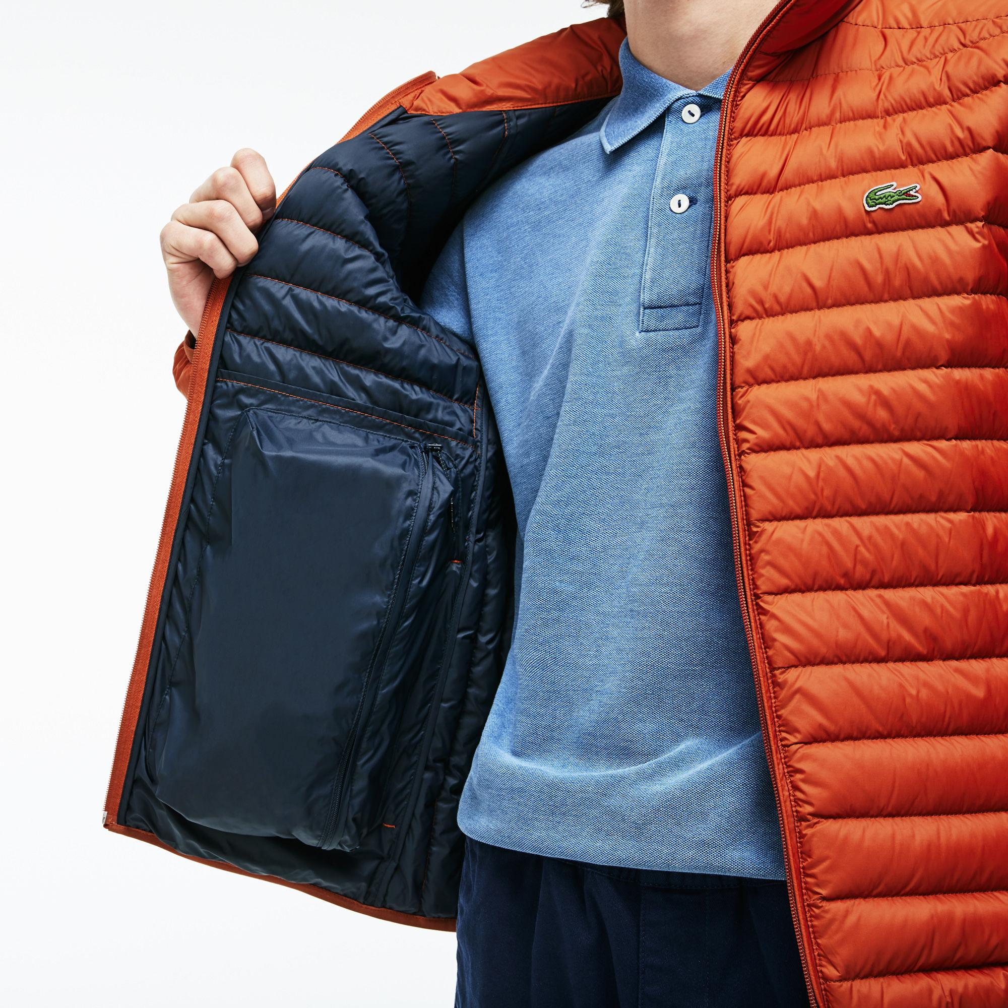 9406b101d5d4 Lyst - Lacoste Short Contrast Lining Quilted Jacket in Orange for Men