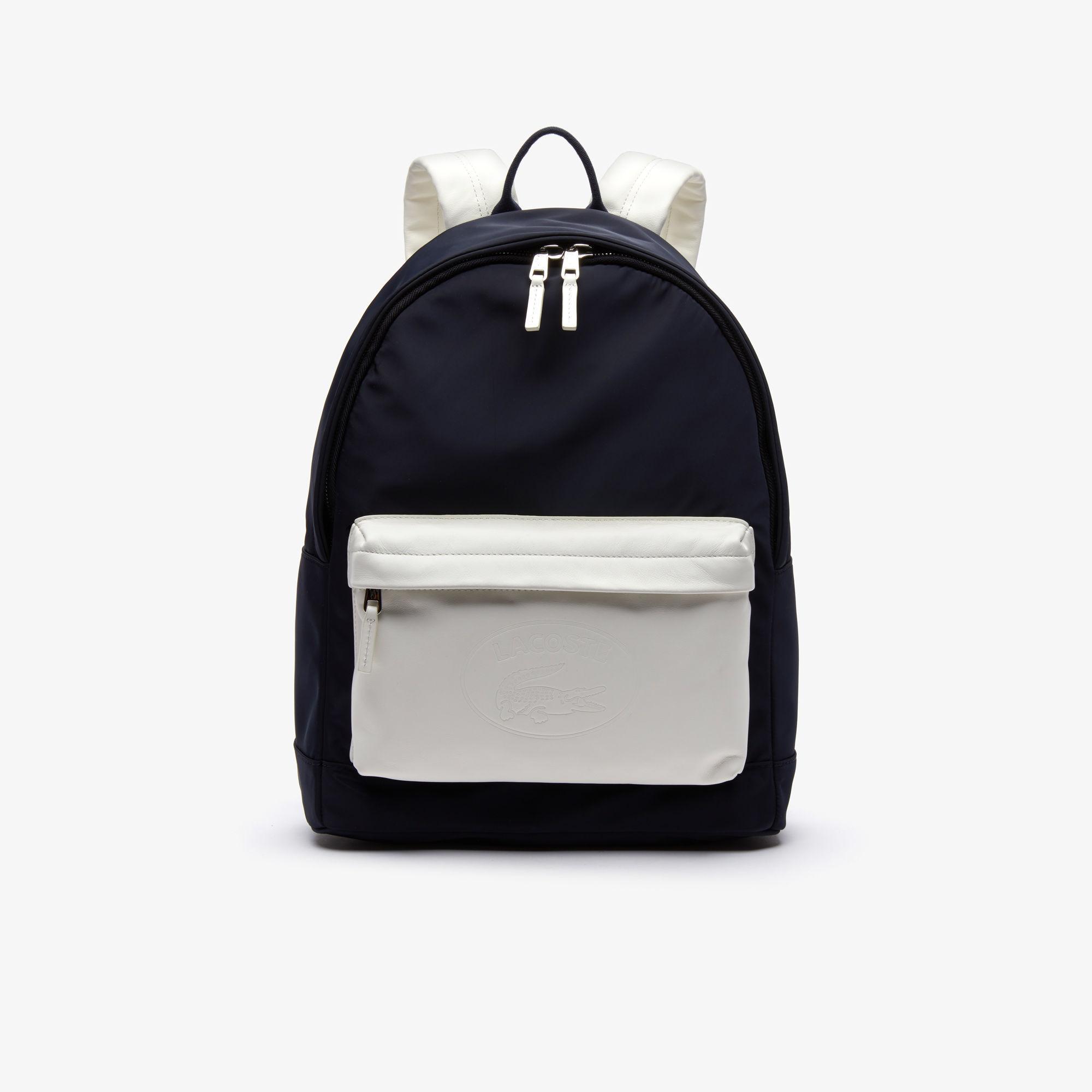 6cae09d14964 ... L.12.12 Embossed Lettering Bicolour Leather Backpack for Men - Lyst.  View fullscreen