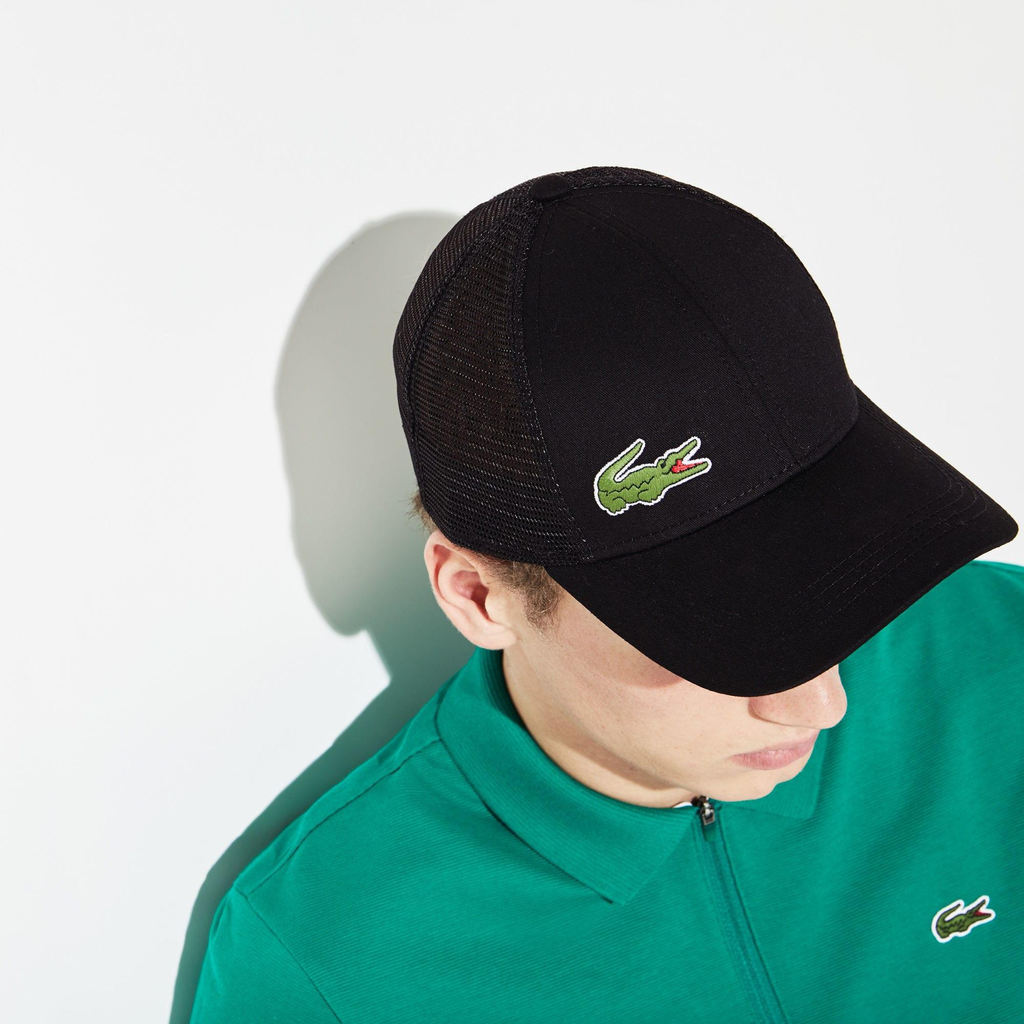 ab8a864f47850 Lacoste Sport Gabardine And Mesh Tennis Cap in Black for Men - Save ...