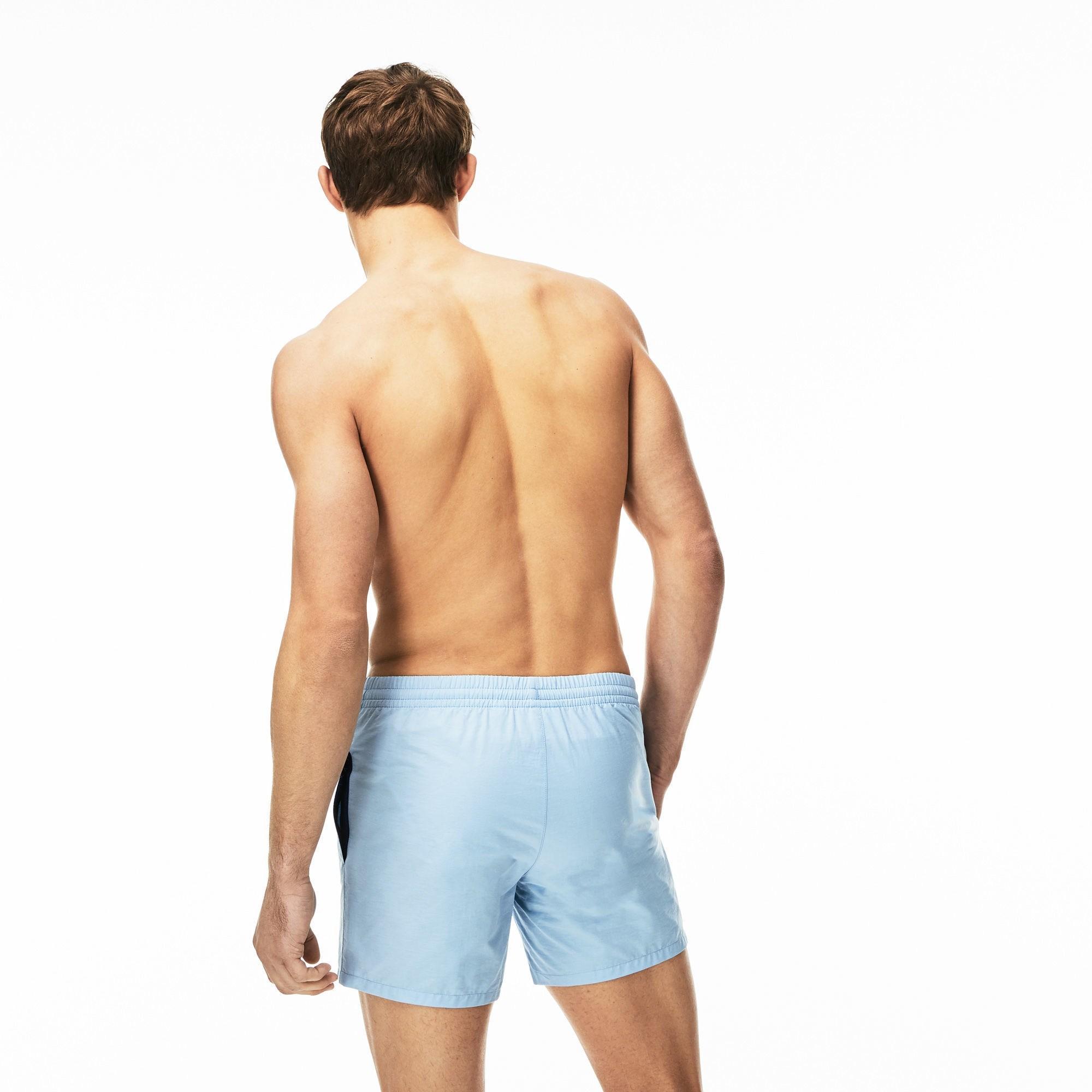 f27ec05f28 Lacoste - Blue Taffeta Swim Trunks for Men - Lyst. View fullscreen