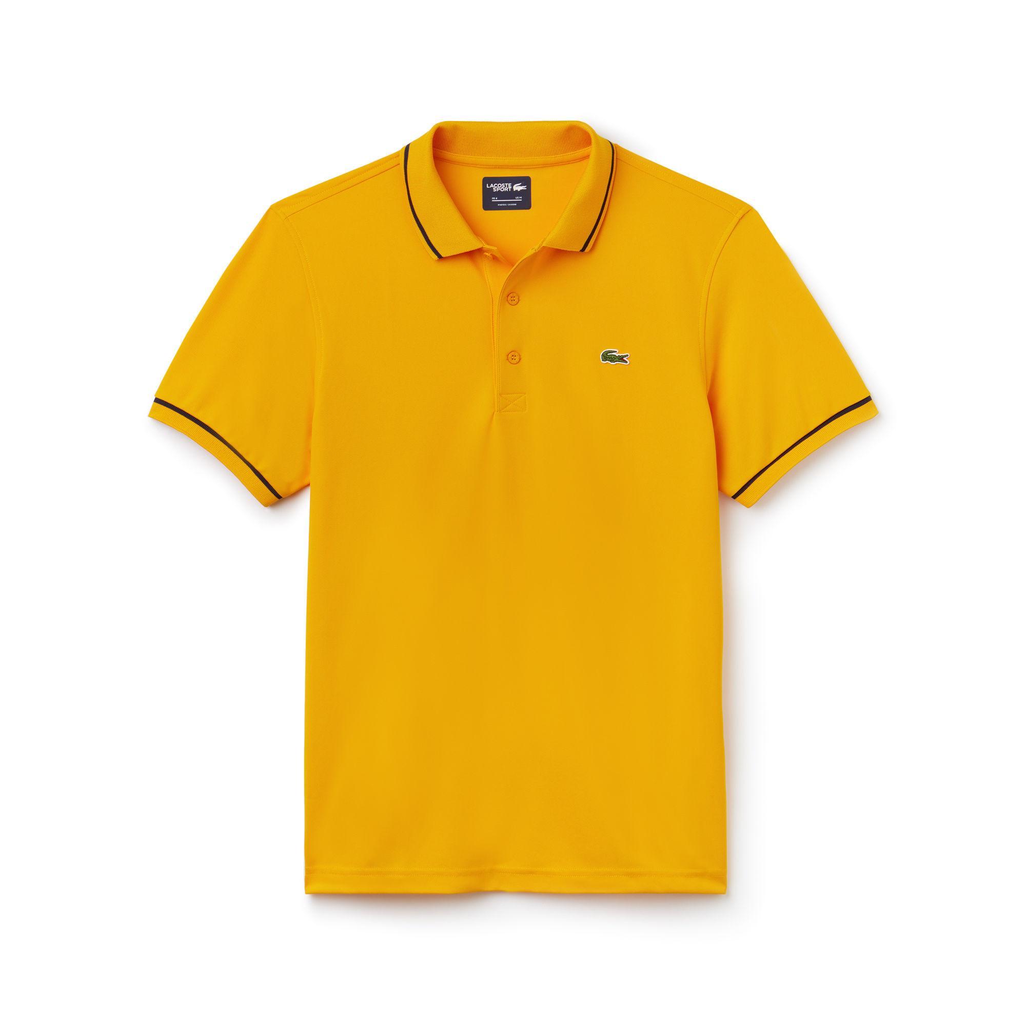 4bdfd127 Lacoste. Men's Yellow Sport Tennis Piped Technical Piqué Polo Shirt