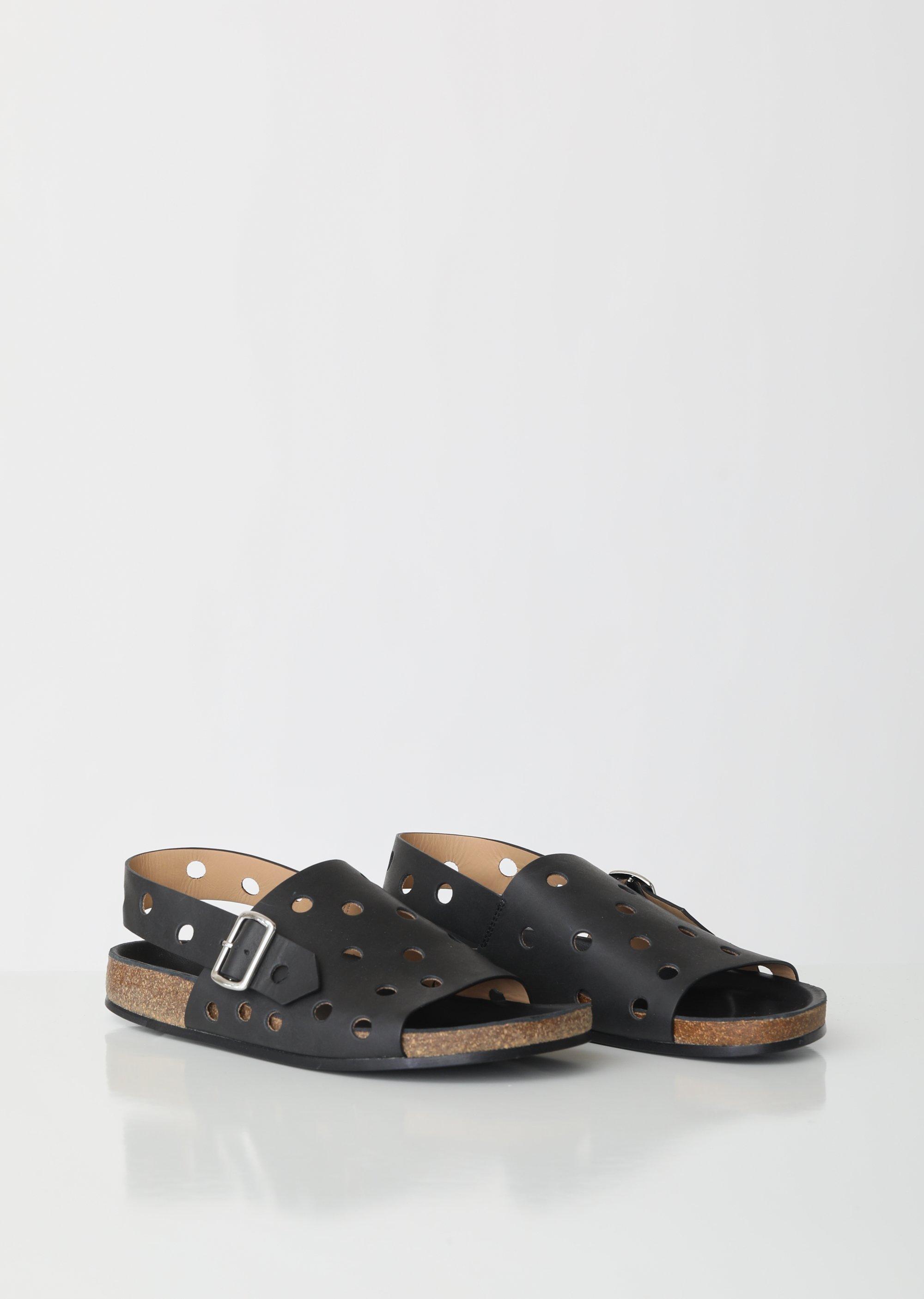 fa680c73499a Jil Sander Navy - Black Circle Cut Out Sandals - Lyst. View fullscreen