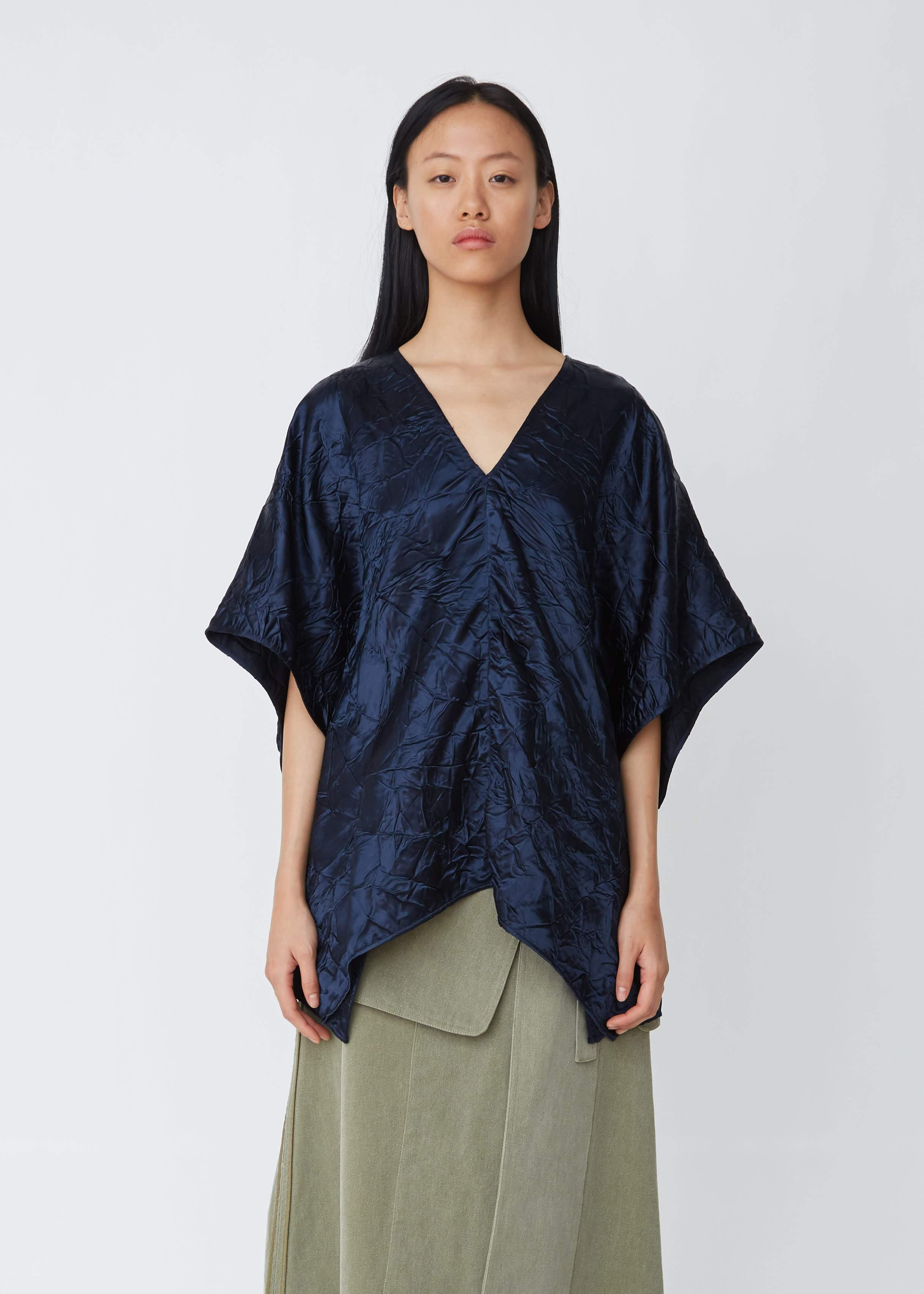 508635a2c99583 Lyst - Sies Marjan May Crinkled Satin V-neck Tunic in Blue