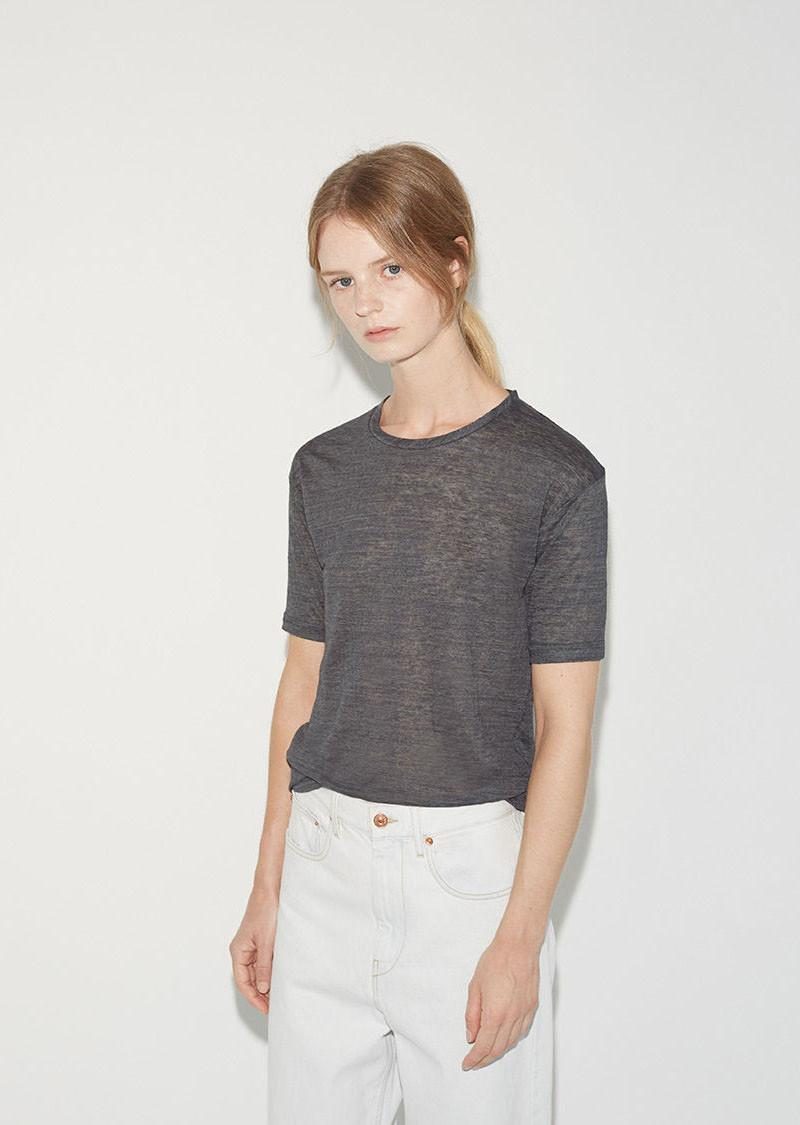 Isabel marant madjo linen tee shirt in gray lyst for Isabel marant t shirt sale