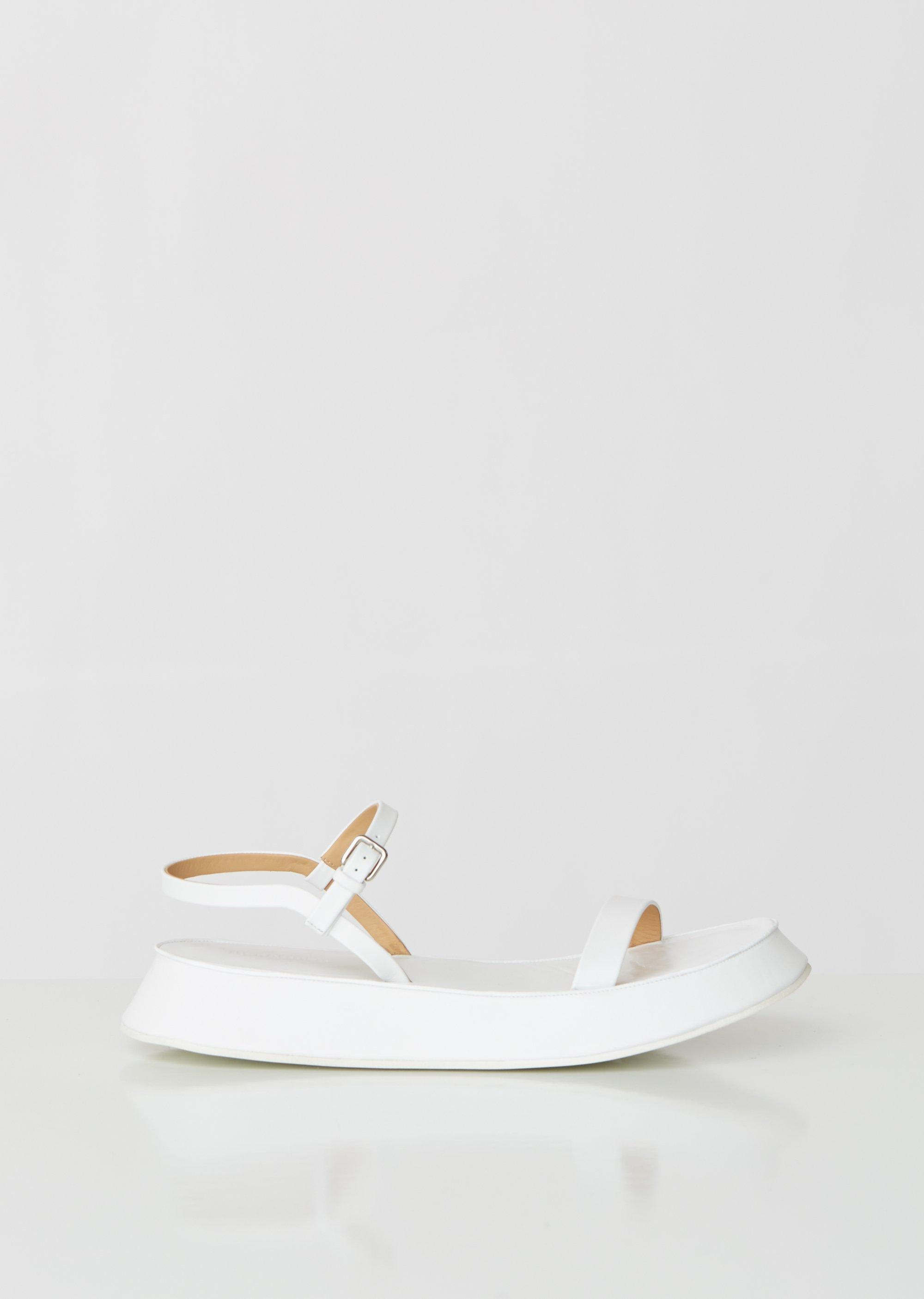 2d685141c2 Jil Sander Monochrome Platform Leather Sandals in White - Lyst