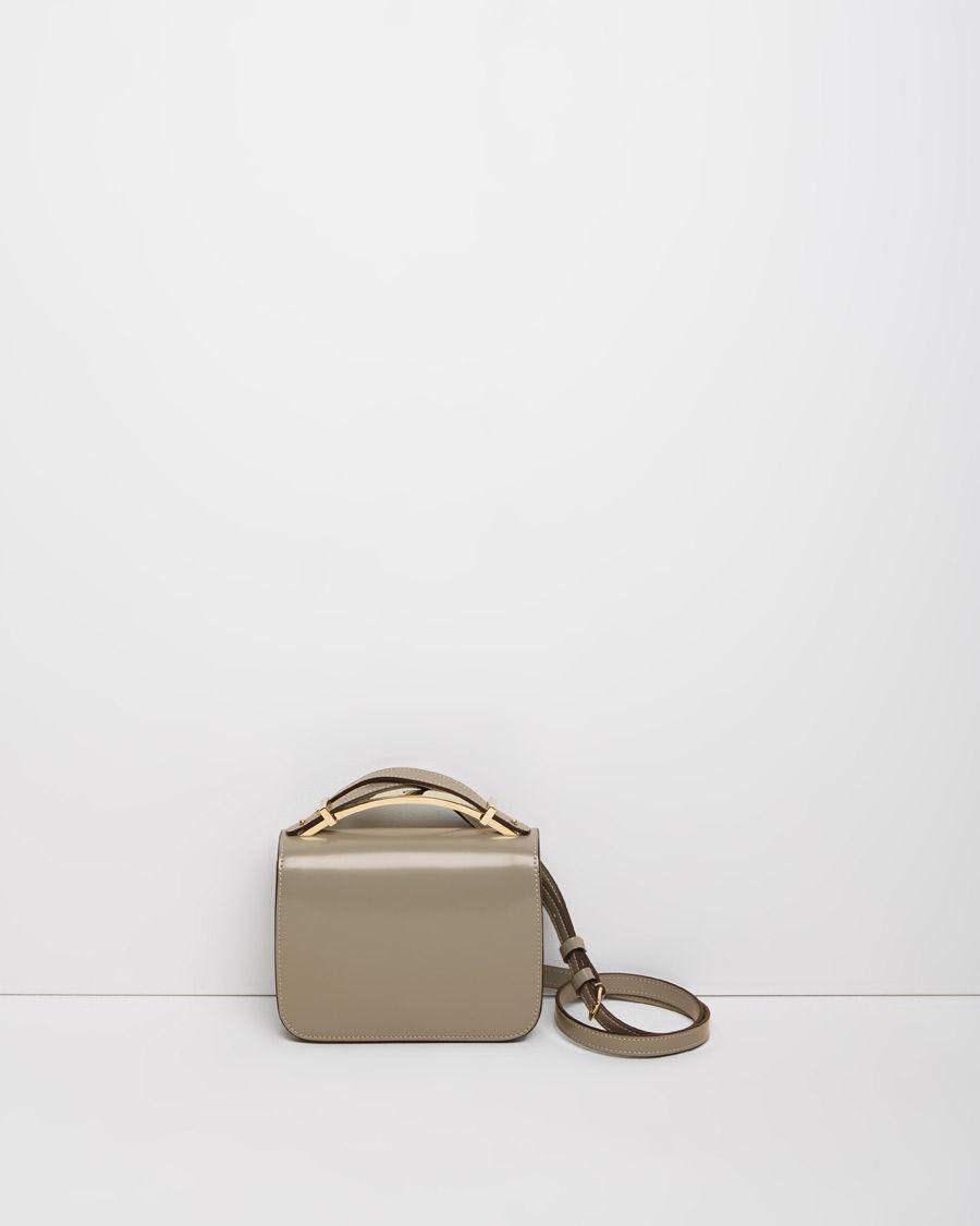 Marni Top Handle Leather Shoulder Bag in Natural