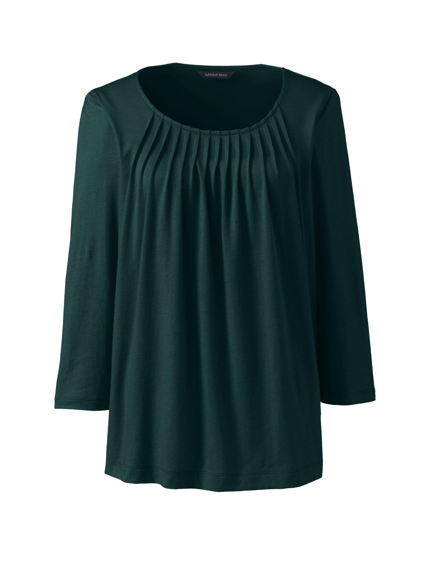 Lyst lands 39 end cotton modal pleated front top in green for Lands end logo shirts
