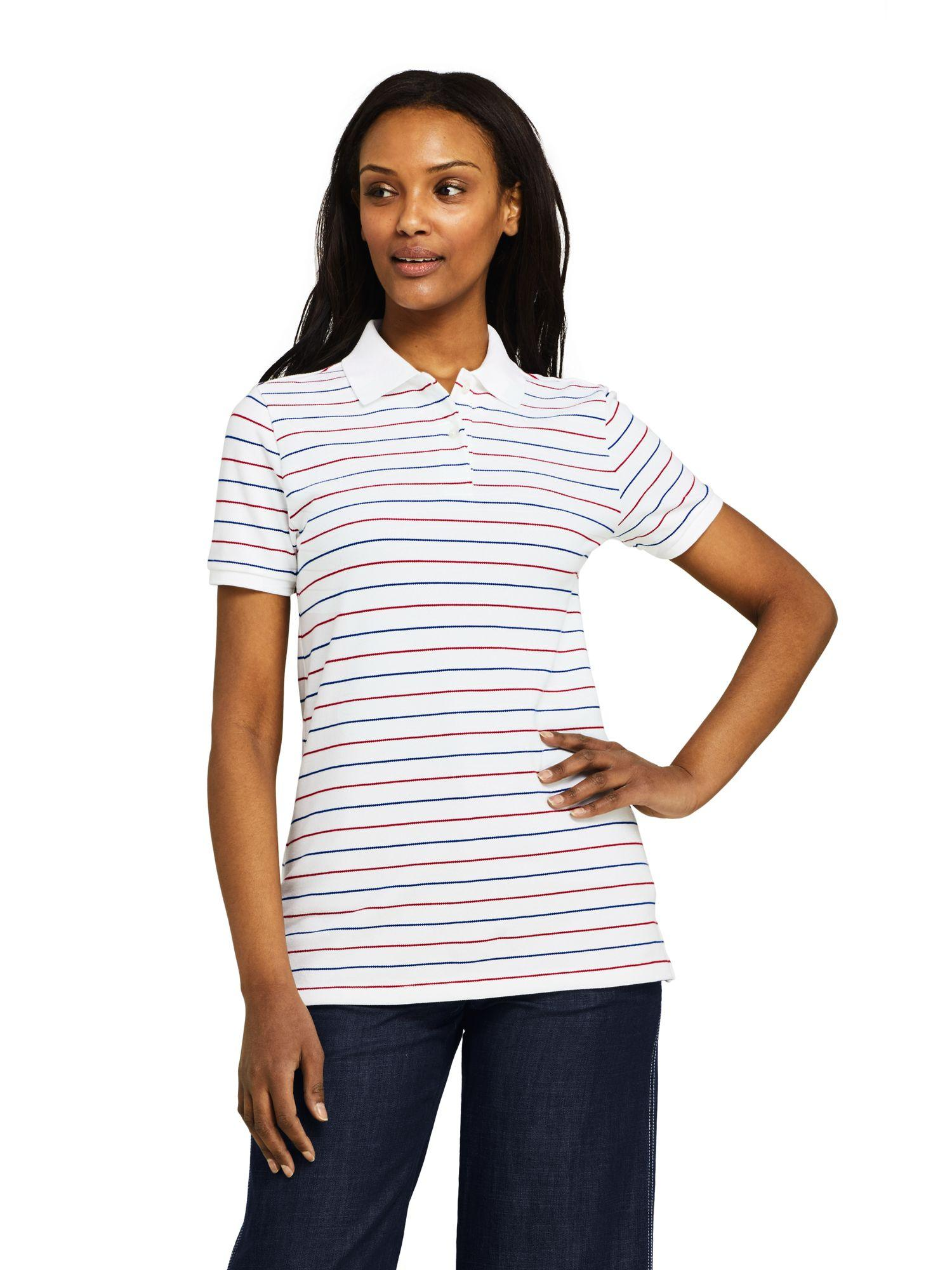 fefe7527927f5a Lands  End Plus Stripe Piqué Polo Shirt in Blue - Lyst