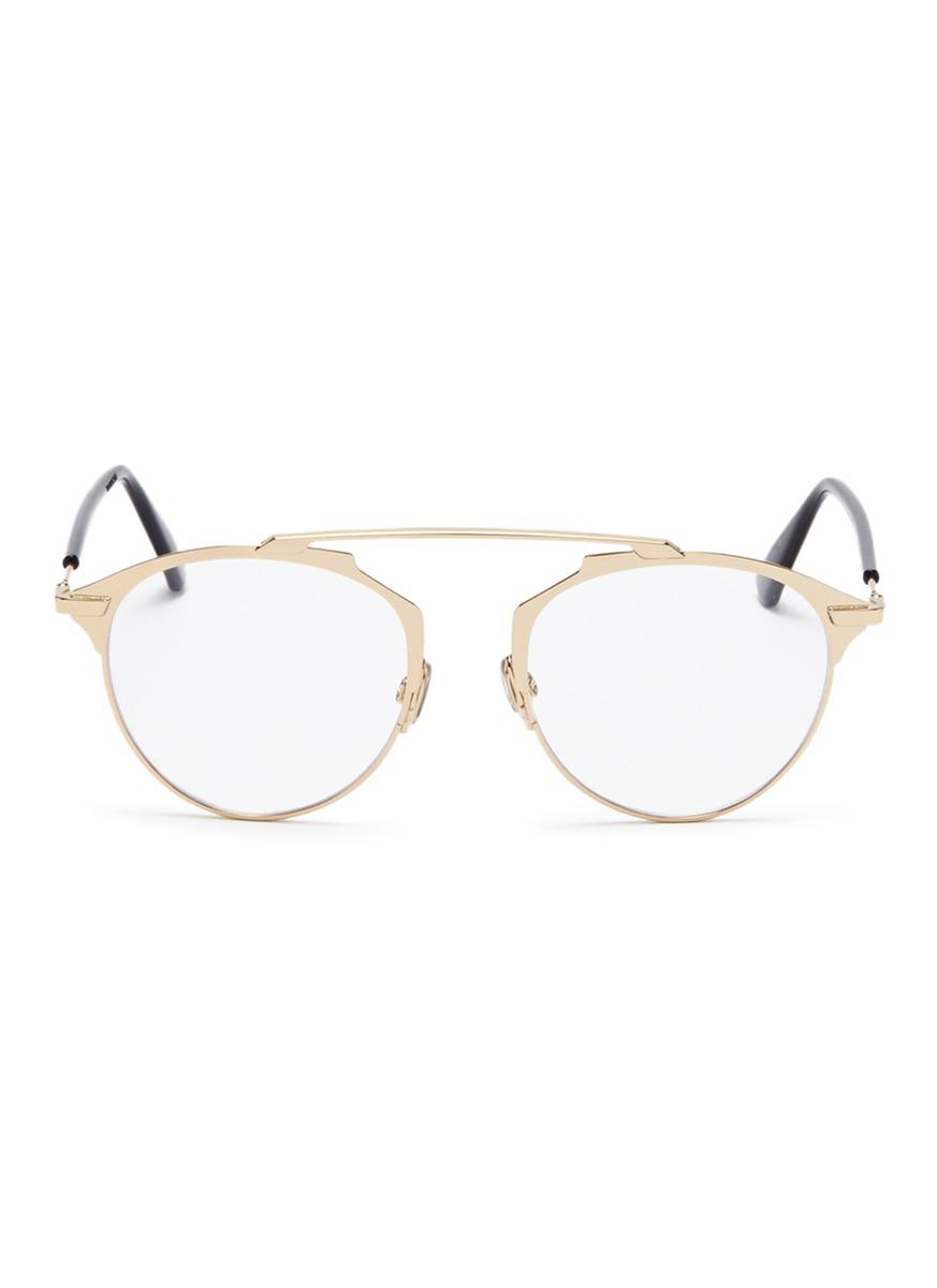 ce2c2e49dab Lyst - Dior   So Real  Metal Panto Optical Glasses in Metallic
