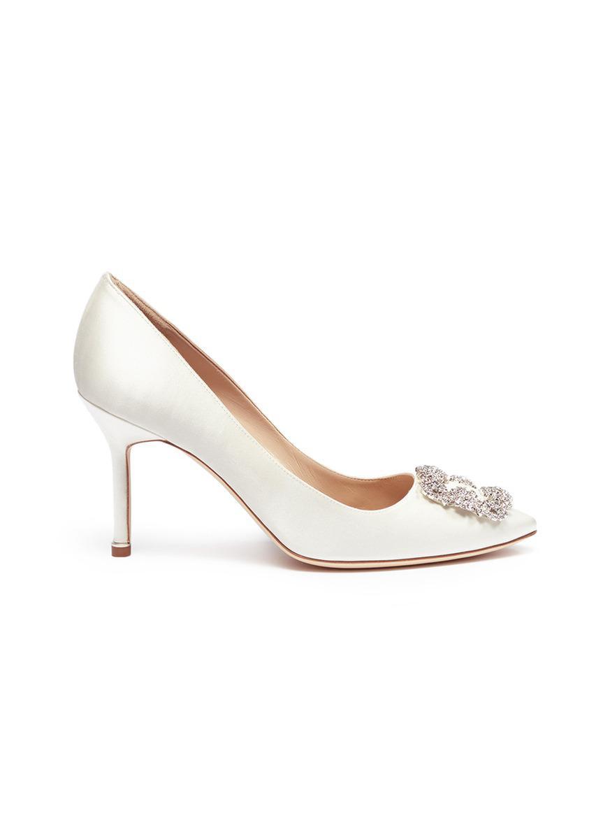 b28df71bea877 ... Manolo Blahnik. Womens White hangisi Swarovski Crystal Brooch Silk  Satin Pumps ...