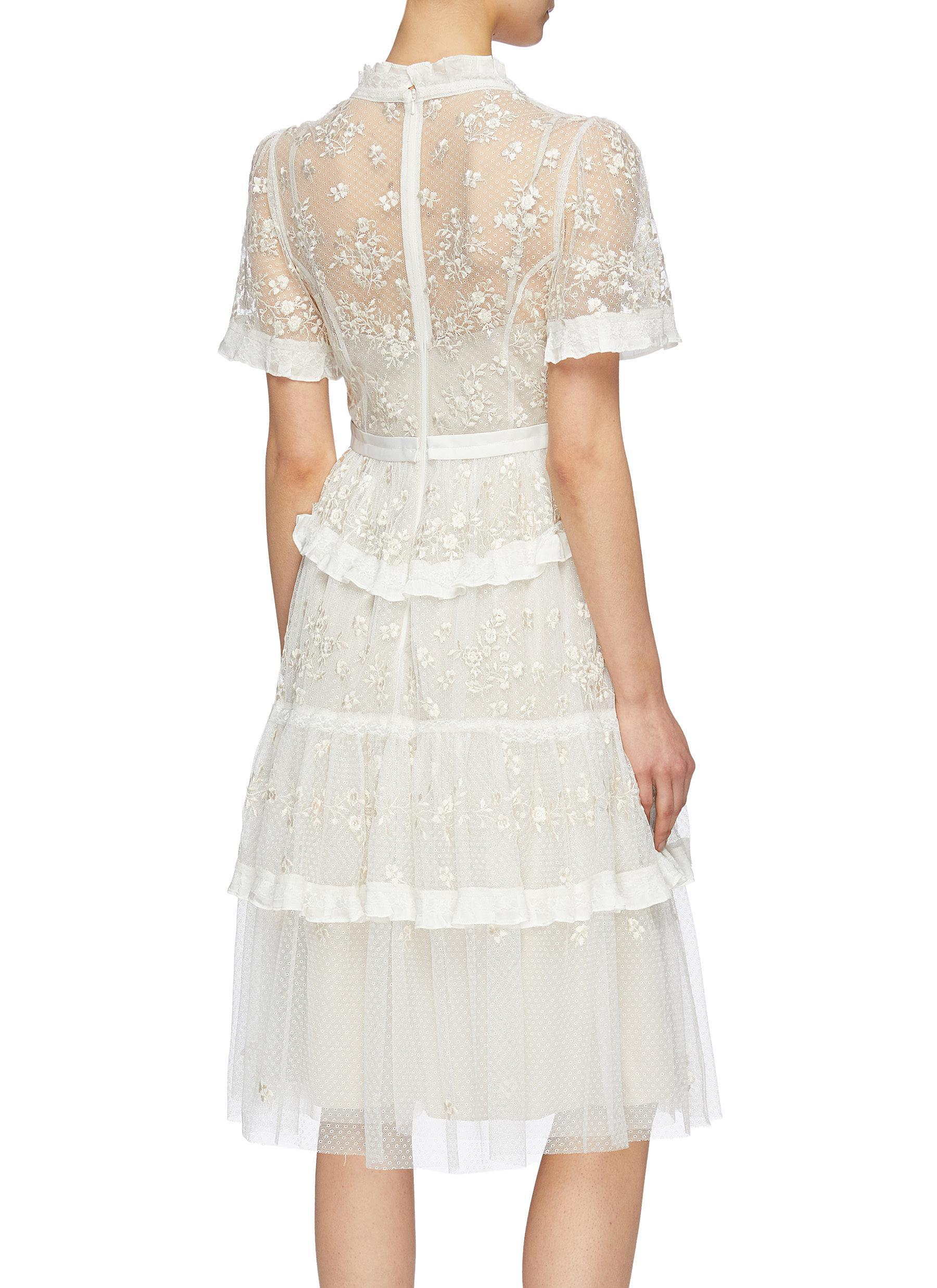 527d307c50e0 Needle   Thread - White  fortuny  Floral Embroidered Tiered Tulle Dress -  Lyst. View fullscreen