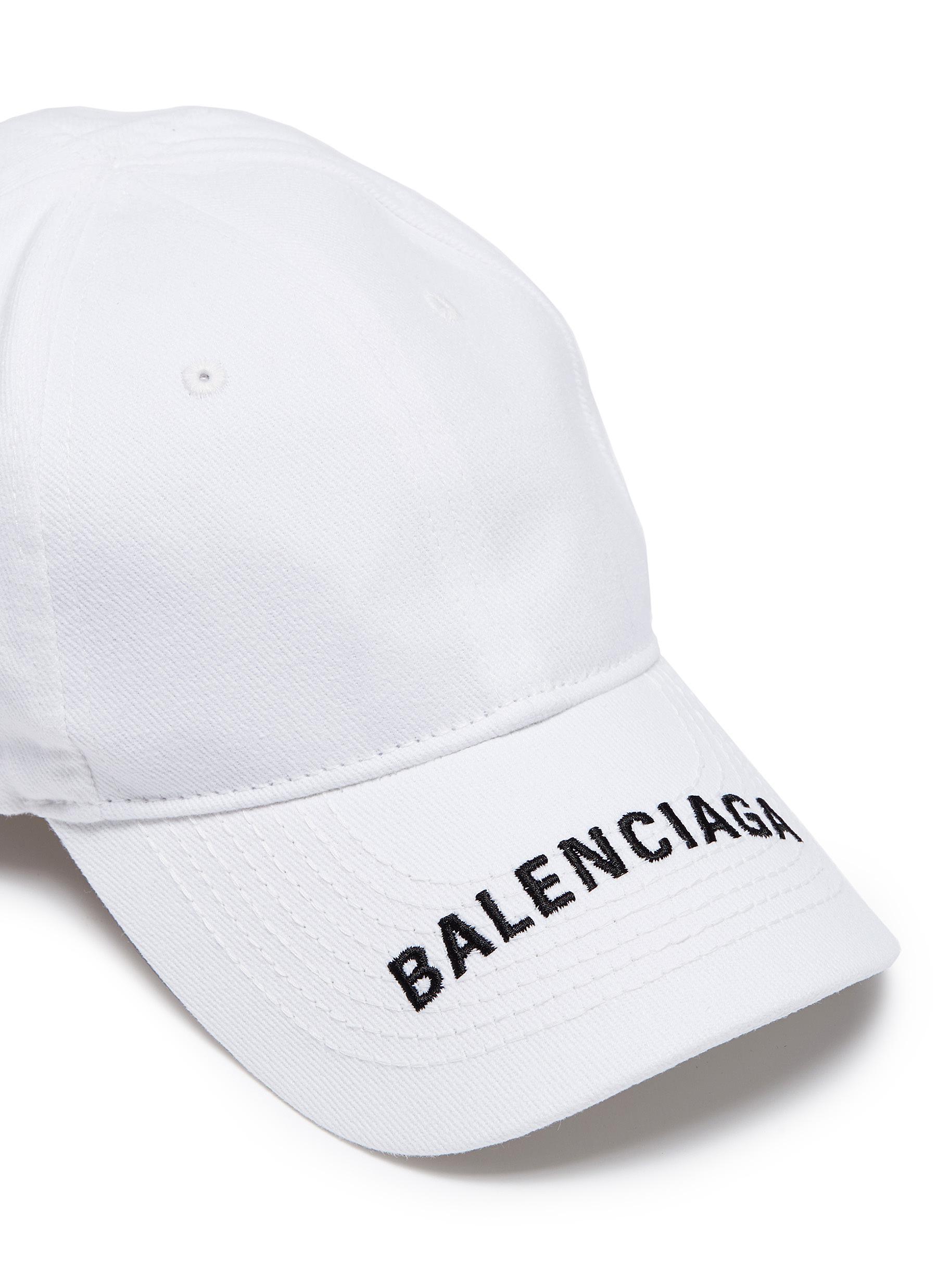 45843ca34e4 Lyst - Balenciaga Logo Embroidered Cotton Cap in White for Men ...