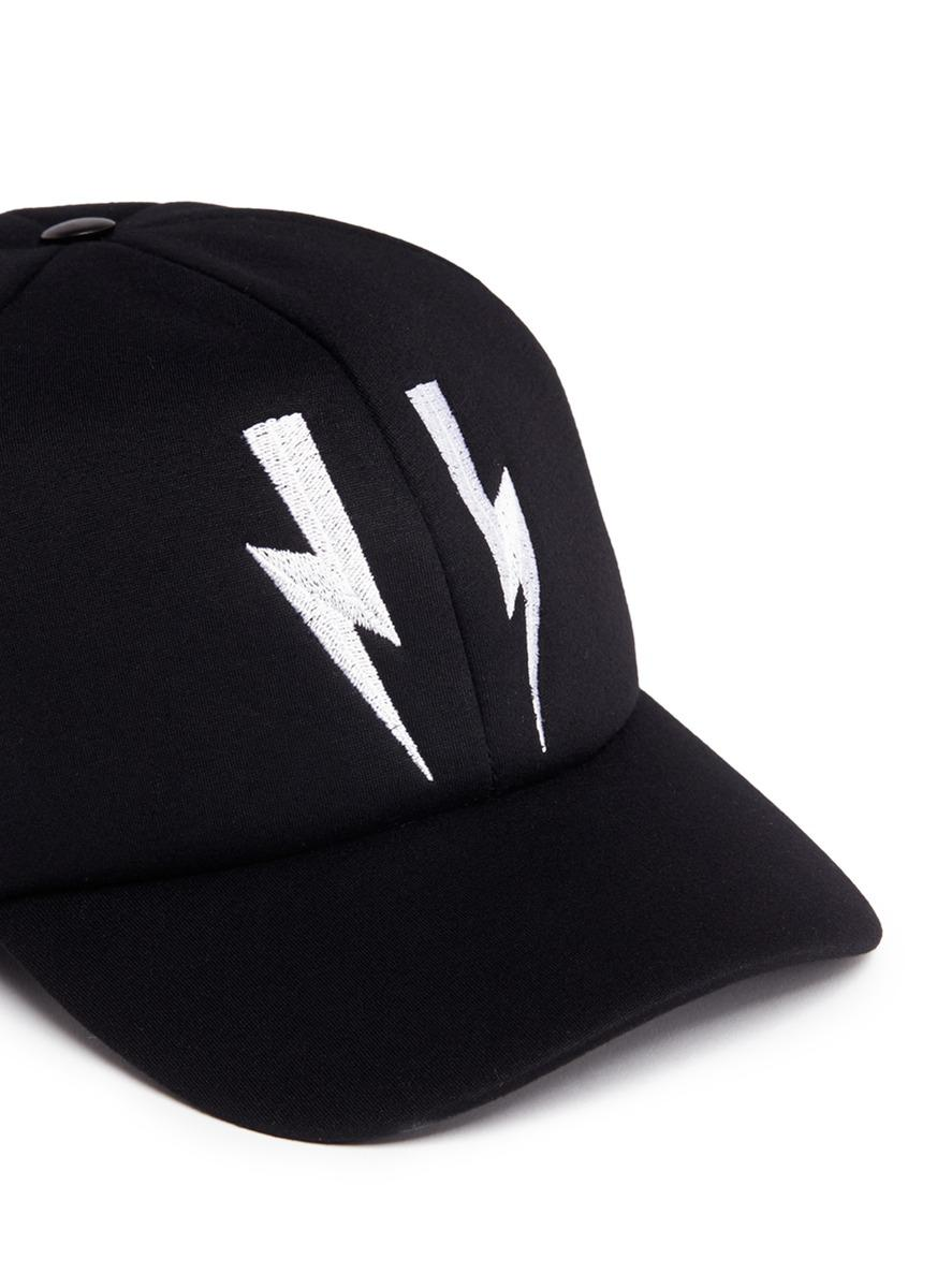 Lyst - Neil Barrett Thunderbolt Embroidered Waterproof Baseball Cap ... 7f7932ab1a18