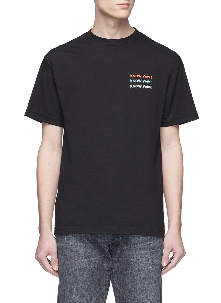 Lyst know wave 39 up by three 39 logo embroidered t shirt in for Shirt with logo embroidered