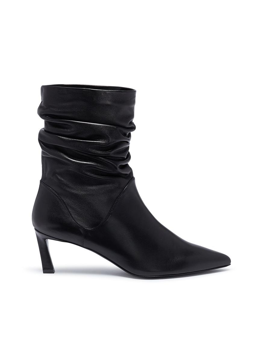 Demibenatar Ruched Leather Boots - White Stuart Weitzman