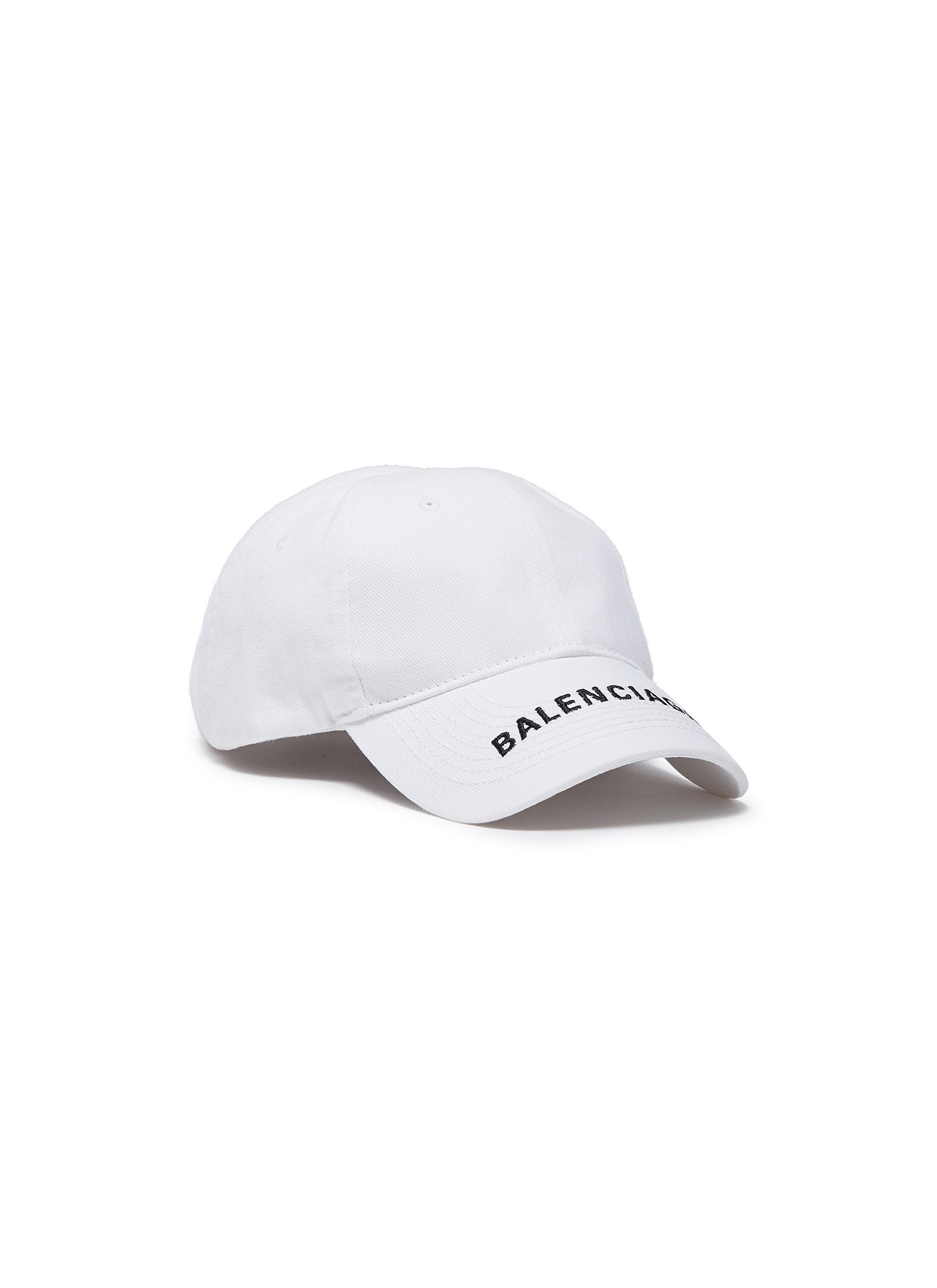 45843ca34e4 Lyst - Balenciaga Logo Embroidered Cotton Cap in White for Men ...