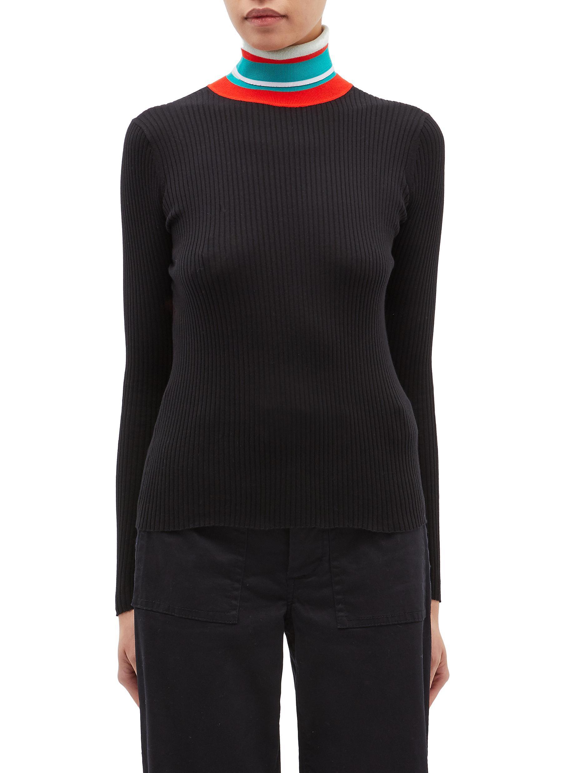 72329ad3e8c92 Proenza Schouler Pswl Contrast Stripe Rib Knit Turtleneck Sweater in ...