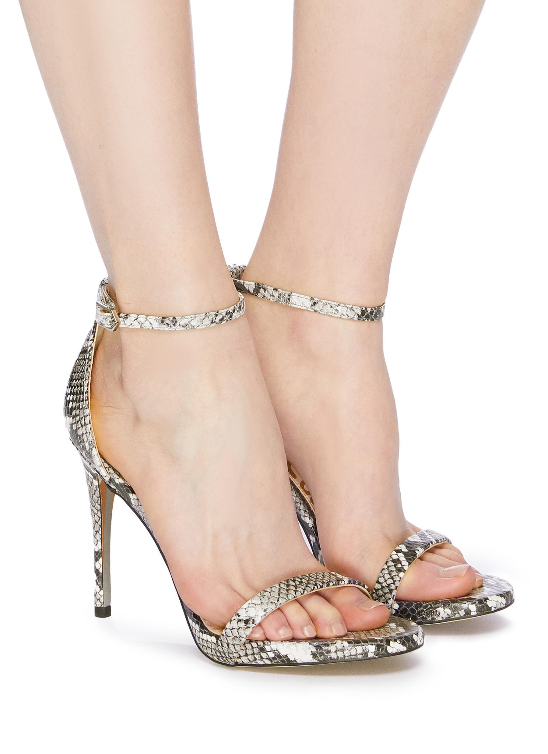 f819bb39b080 Sam Edelman  ariella  Ankle Strap Snake Embossed Leather Sandals - Lyst
