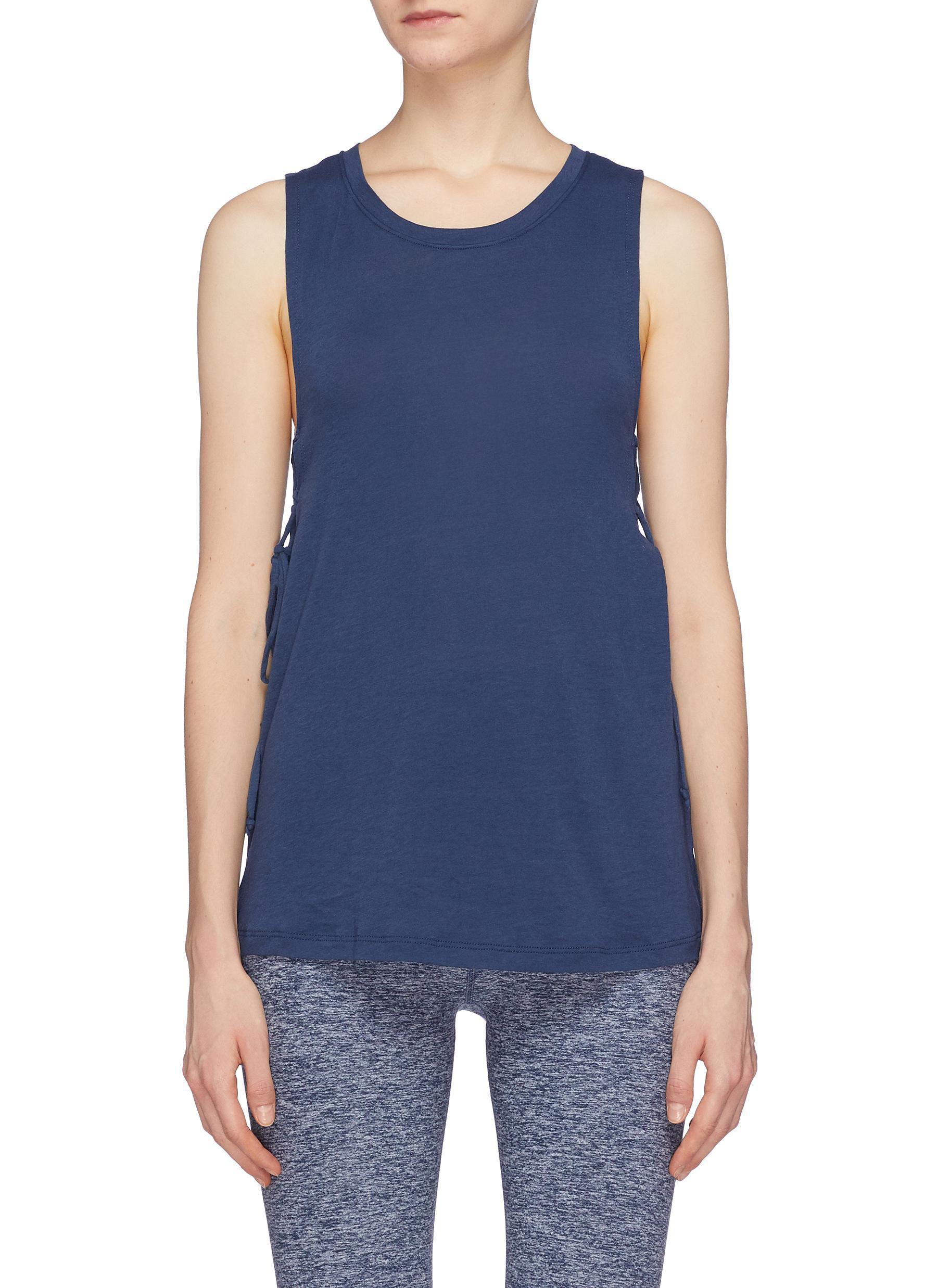 bfe7e5843b7ed8 Lyst - Beyond Yoga  starcrossed  Lace-up Side Tank Top in Blue