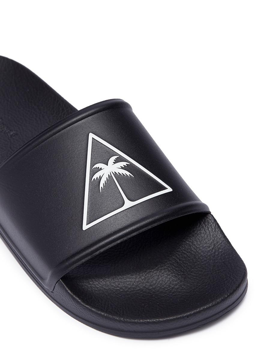 61d4ece52cc Palm Angels  palma  Logo Print Pool Slides in Black for Men - Lyst