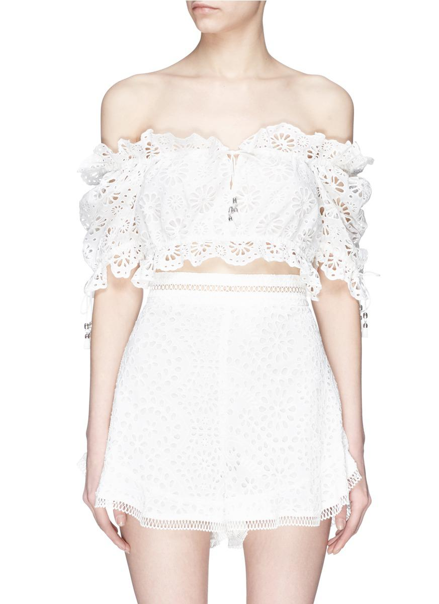 7728b937f8933 Lyst - Zimmermann  lumino Daisy  Broderie Anglaise Off-shoulder ...