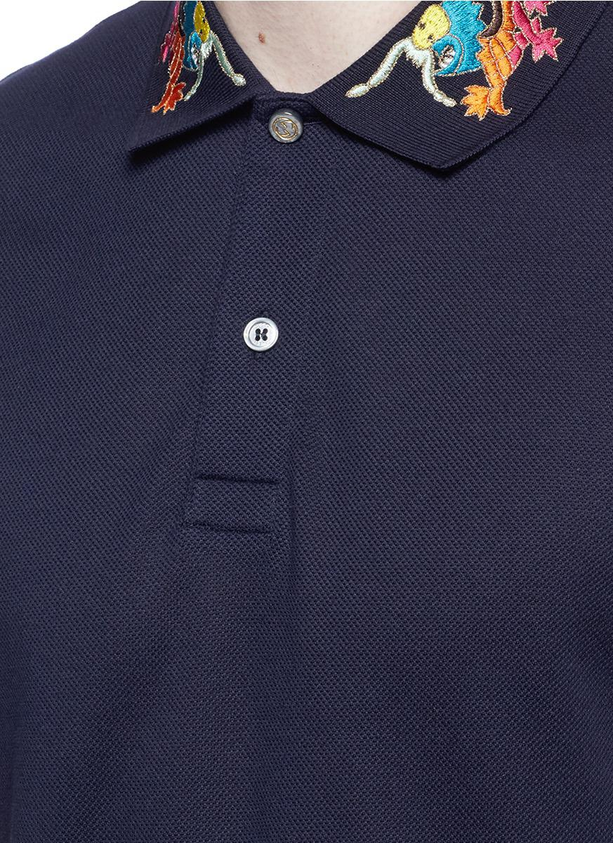 06a7f428e15 Lyst - Gucci Dragon Embroidered Piqué Polo Shirt in Blue for Men