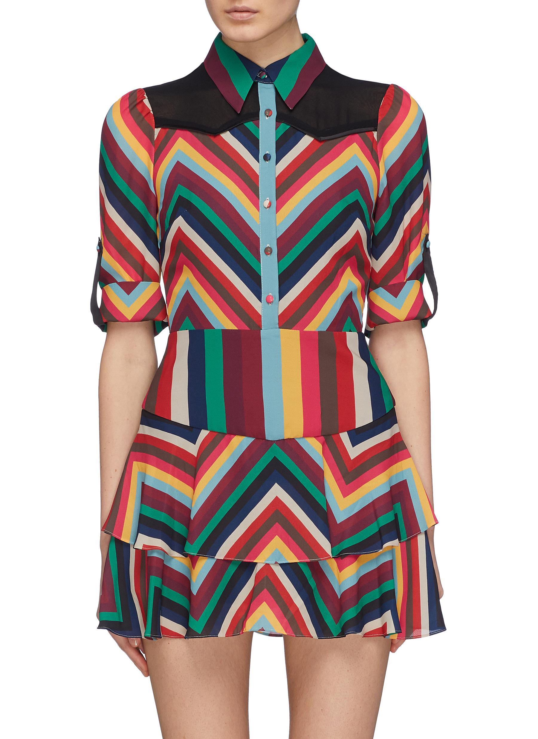 ea603928e85 Alice + Olivia. Women s  hazeline  Yoke Panel Chevron Stripe Tiered Dress