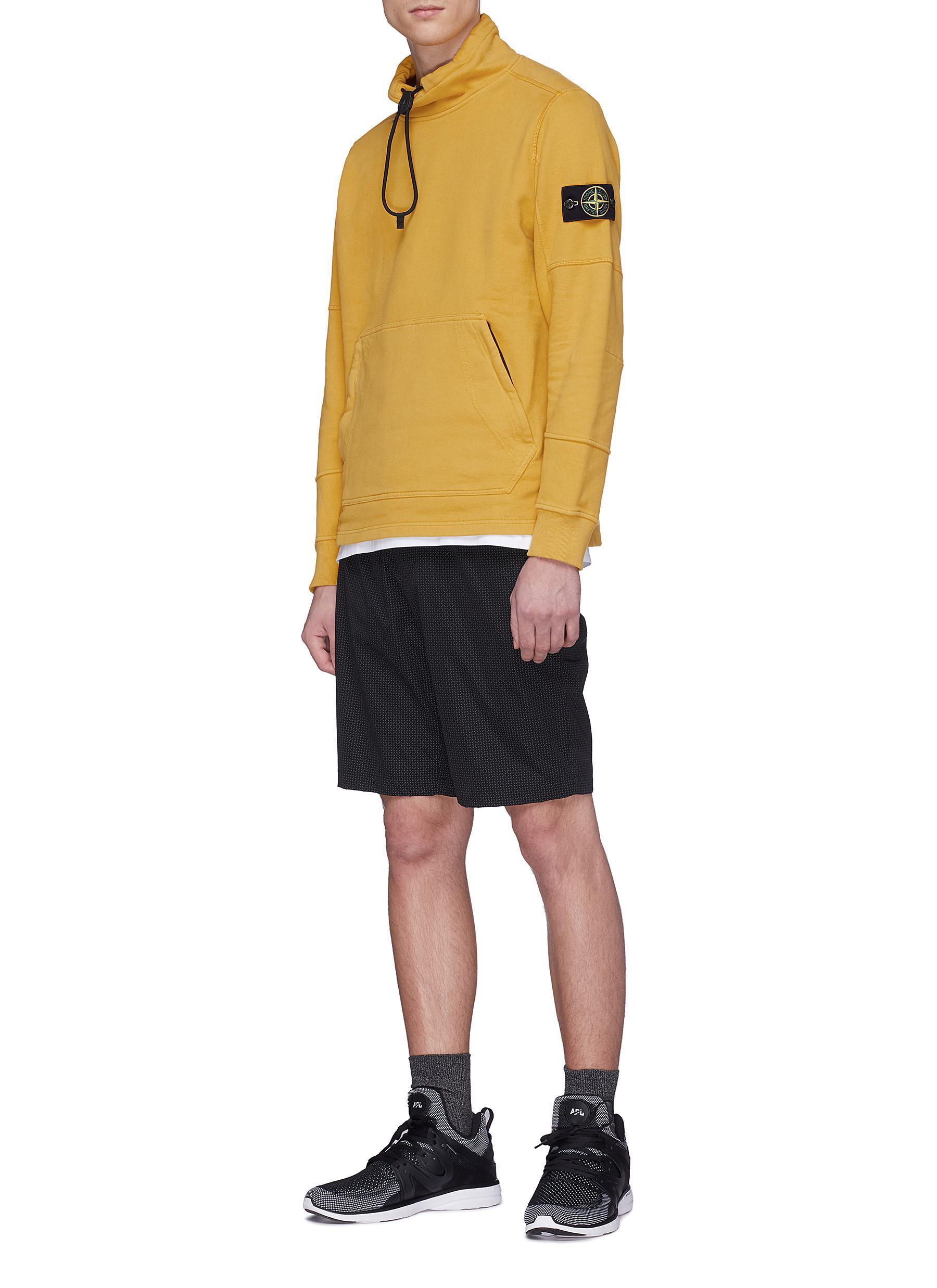 c9f0ef022 Lyst - Stone Island Drawstring Funnel Neck Sweatshirt in Yellow for Men