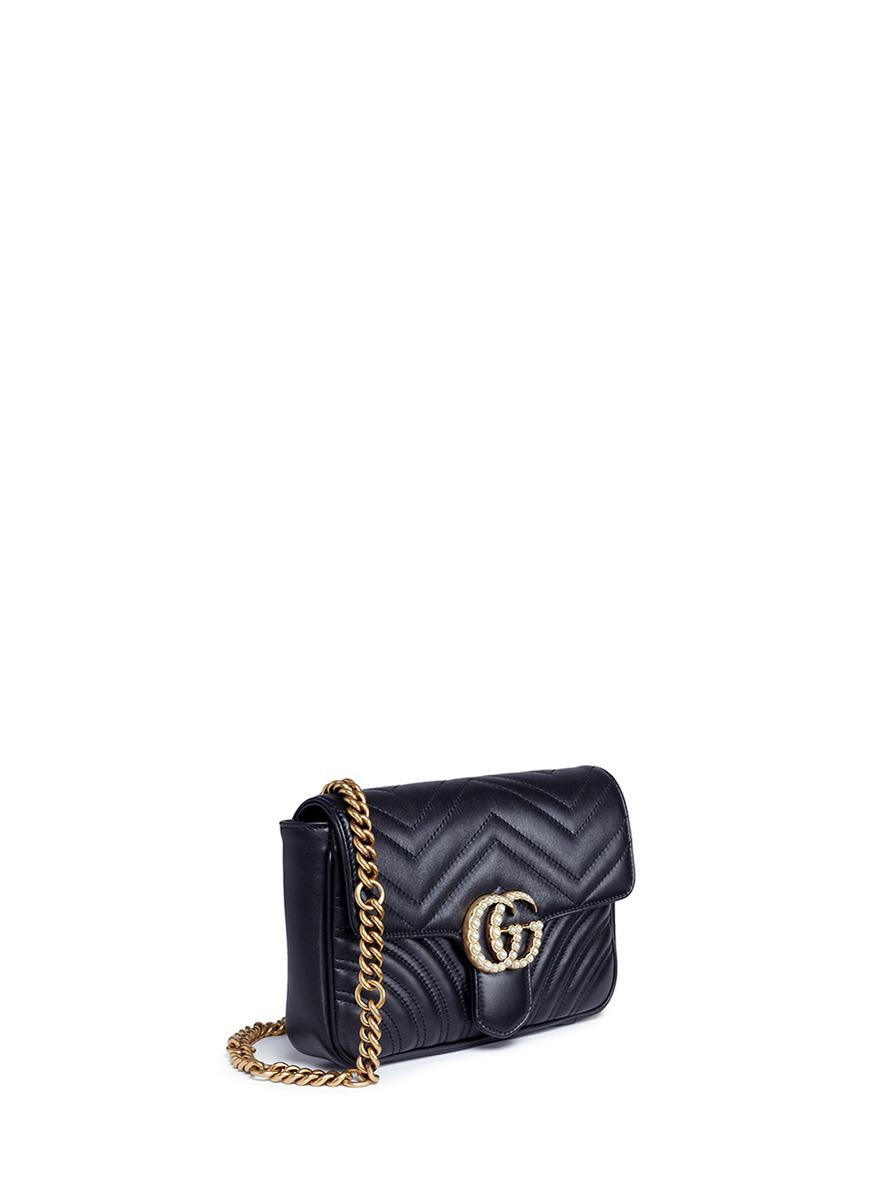 9be03dbd973c Gucci 'gg Marmont' Pearl Logo Small Quilted Leather Crossbody Bag in ...