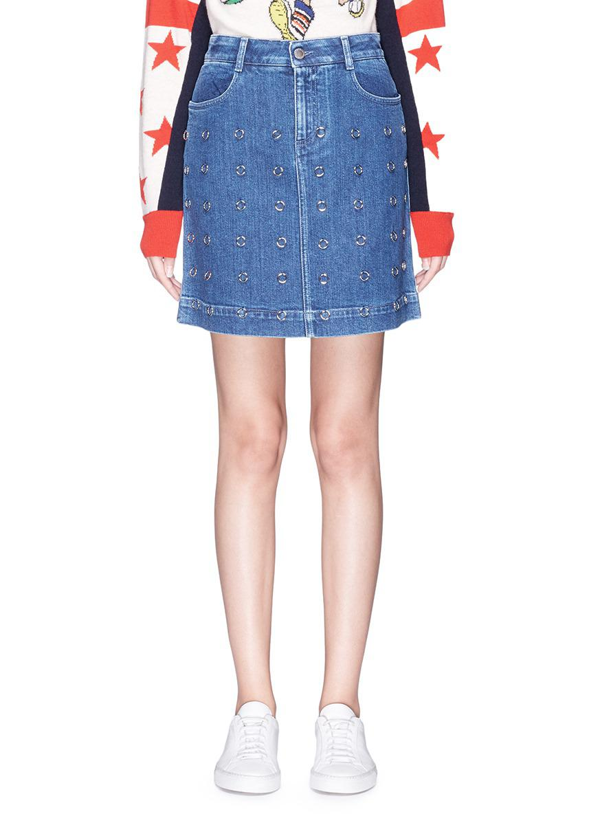 090ea39f91c Stella McCartney Ring Embellished Denim Skirt in Blue - Lyst