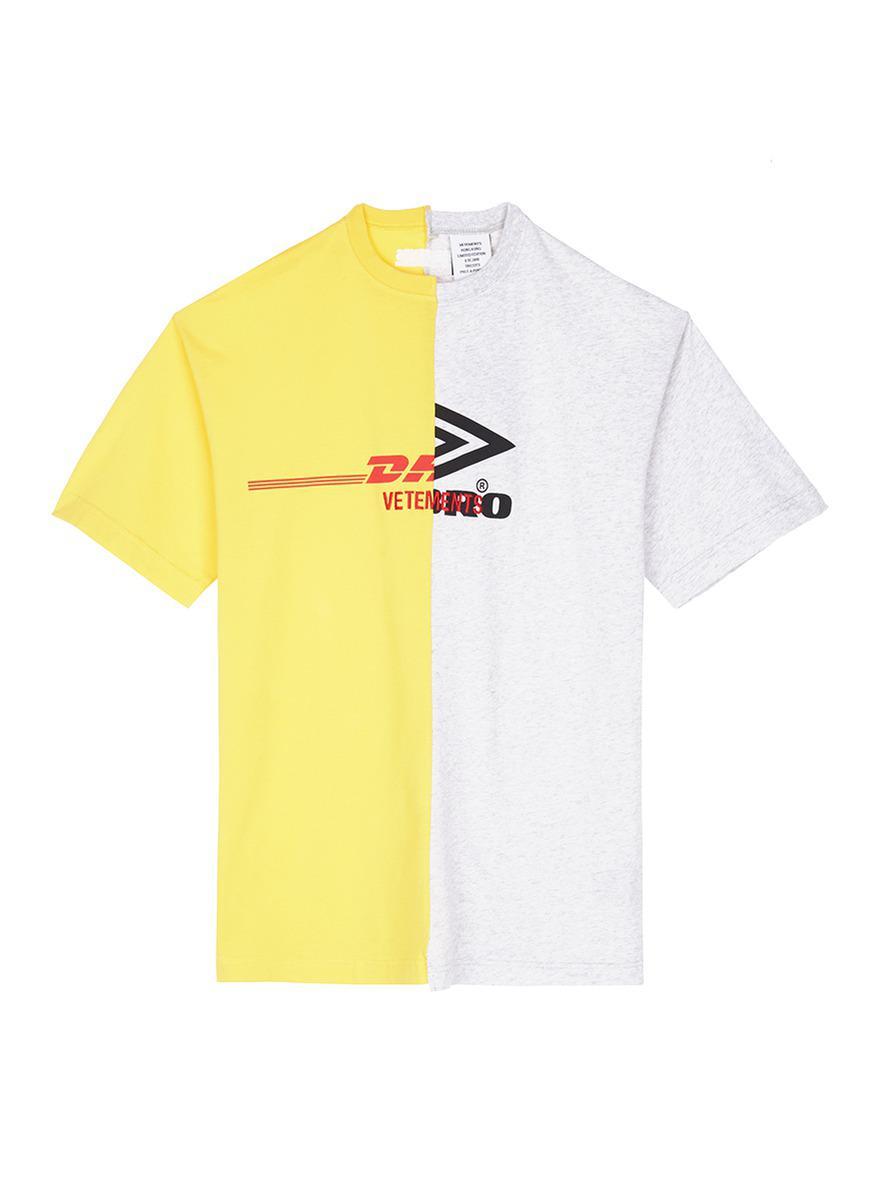 1cf84efae821 Vetements 'dhl Umbro' Logo Print T-shirt in Yellow for Men - Lyst