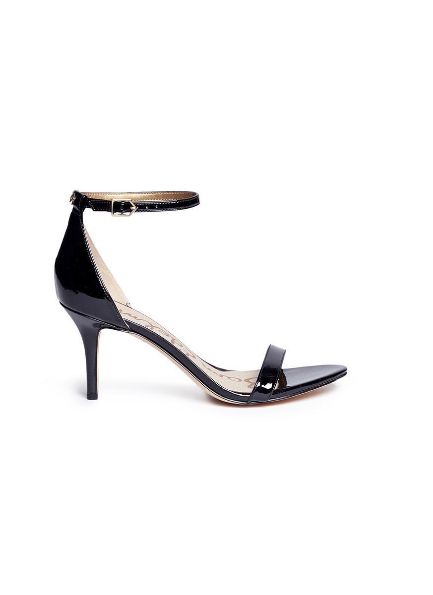 d1a2ad47460e Lyst - Sam Edelman  patti  Ankle Strap Patent Sandals in Black ...