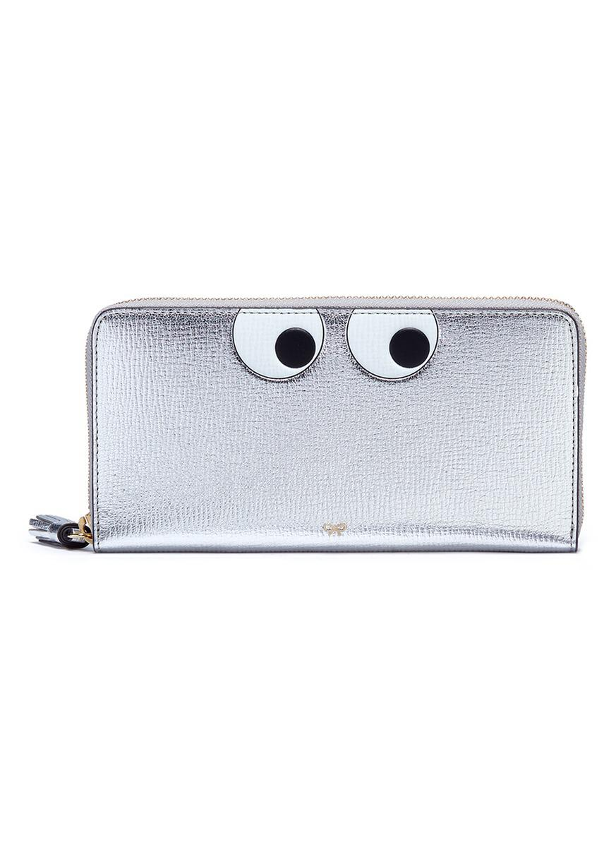 Eyes Large Zip Round Wallet in Silver Metallic Capra Leather Anya Hindmarch v20gfbHRI