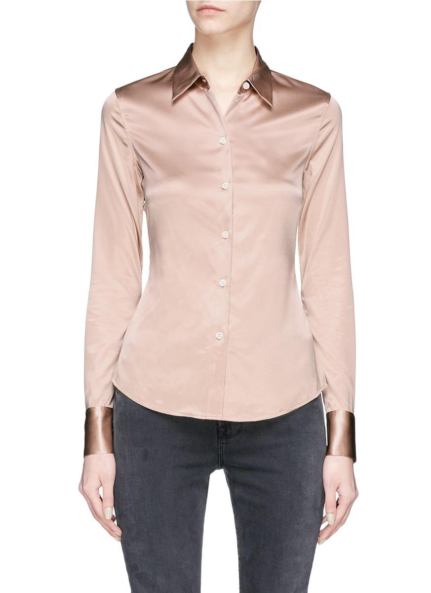 8fef32b75e5 Theory 'perfect Fitted' Silk Satin Shirt in Pink - Lyst