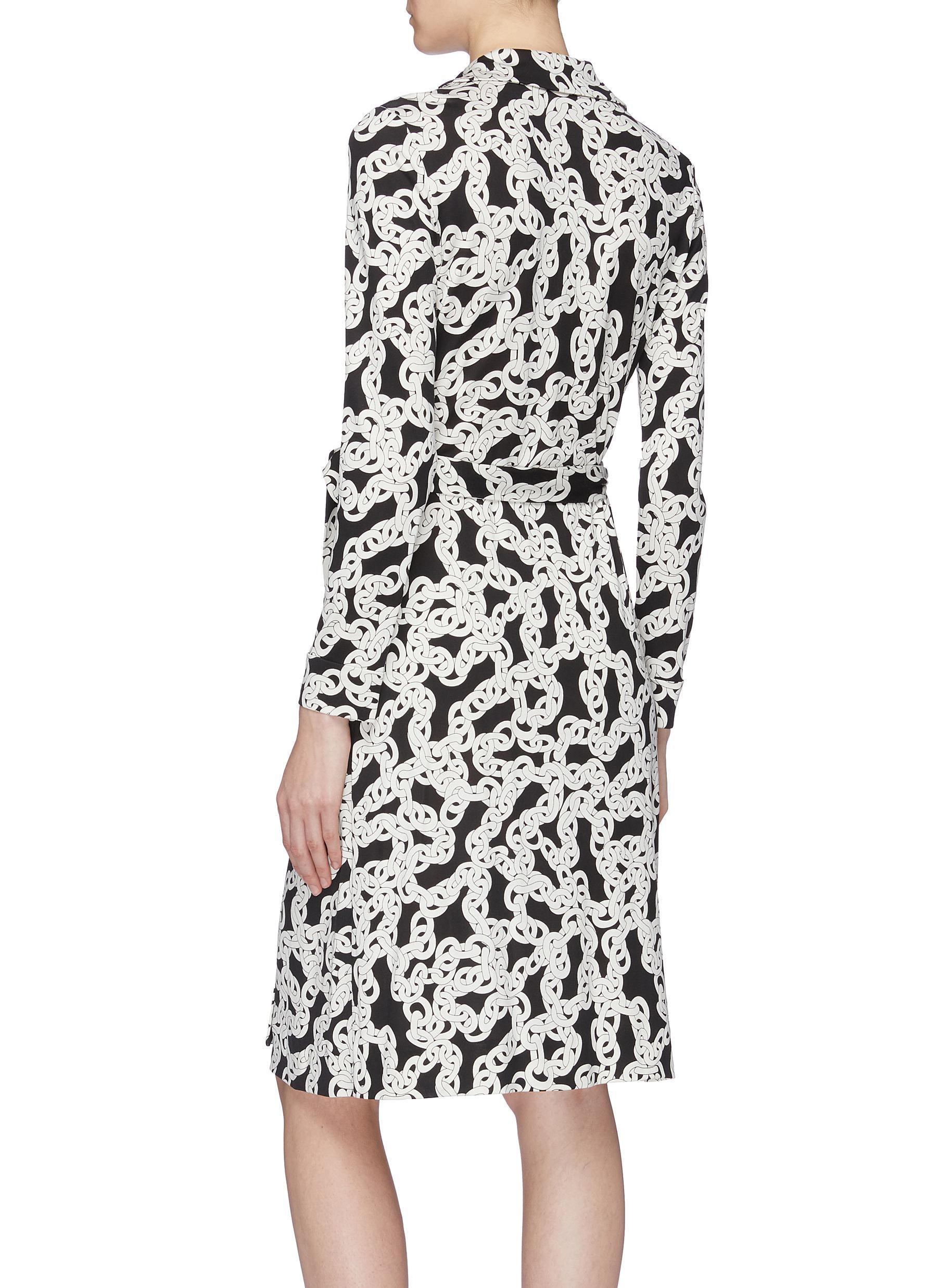 2bdcce05d5b Diane von Furstenberg  new Jeanne  Belted Chain Link Print Silk ...