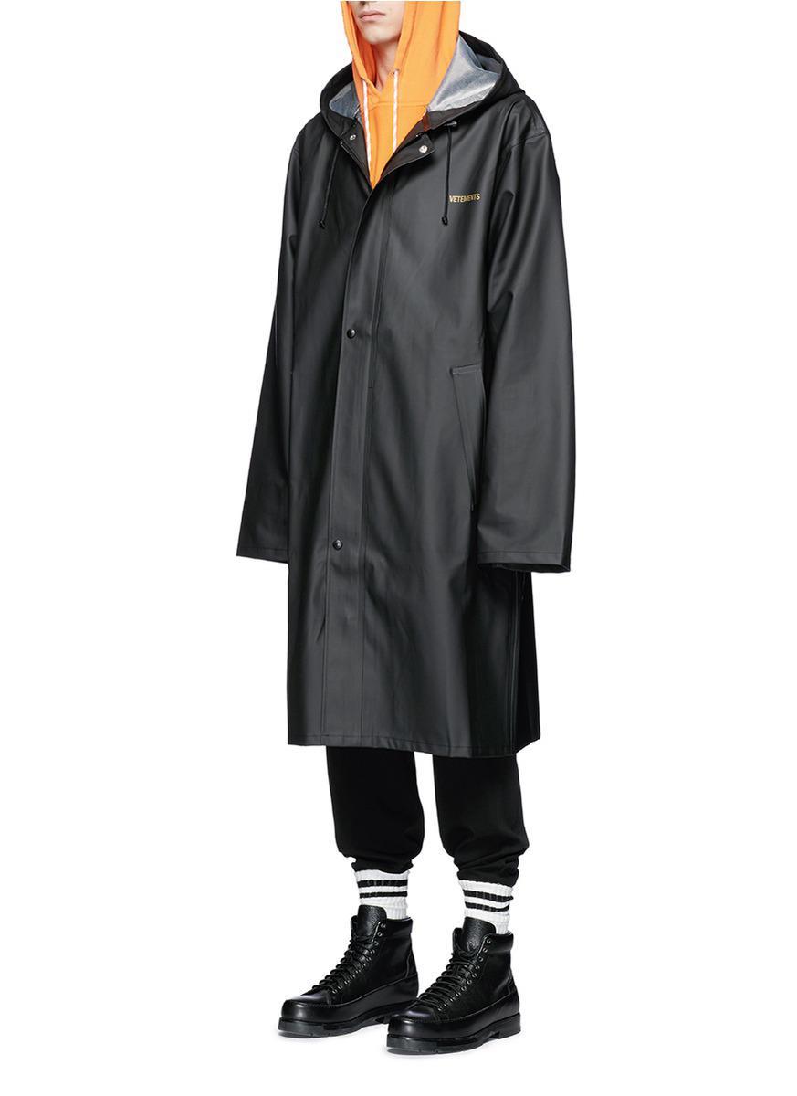 Lyst Vetements Logo Print Unisex Raincoat In Black