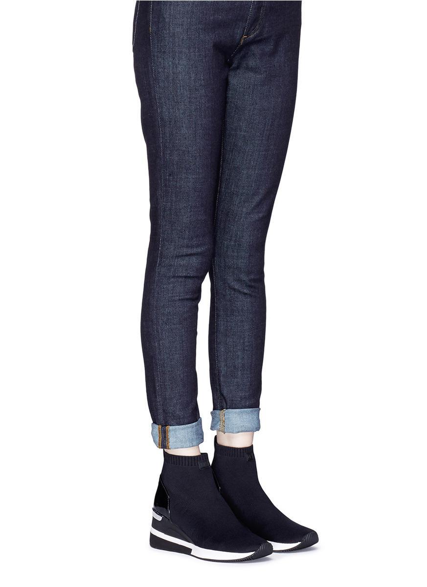 c5c77094ae81 Lyst - Michael Kors  skyler  Knit Sock Sneaker Boots in Black