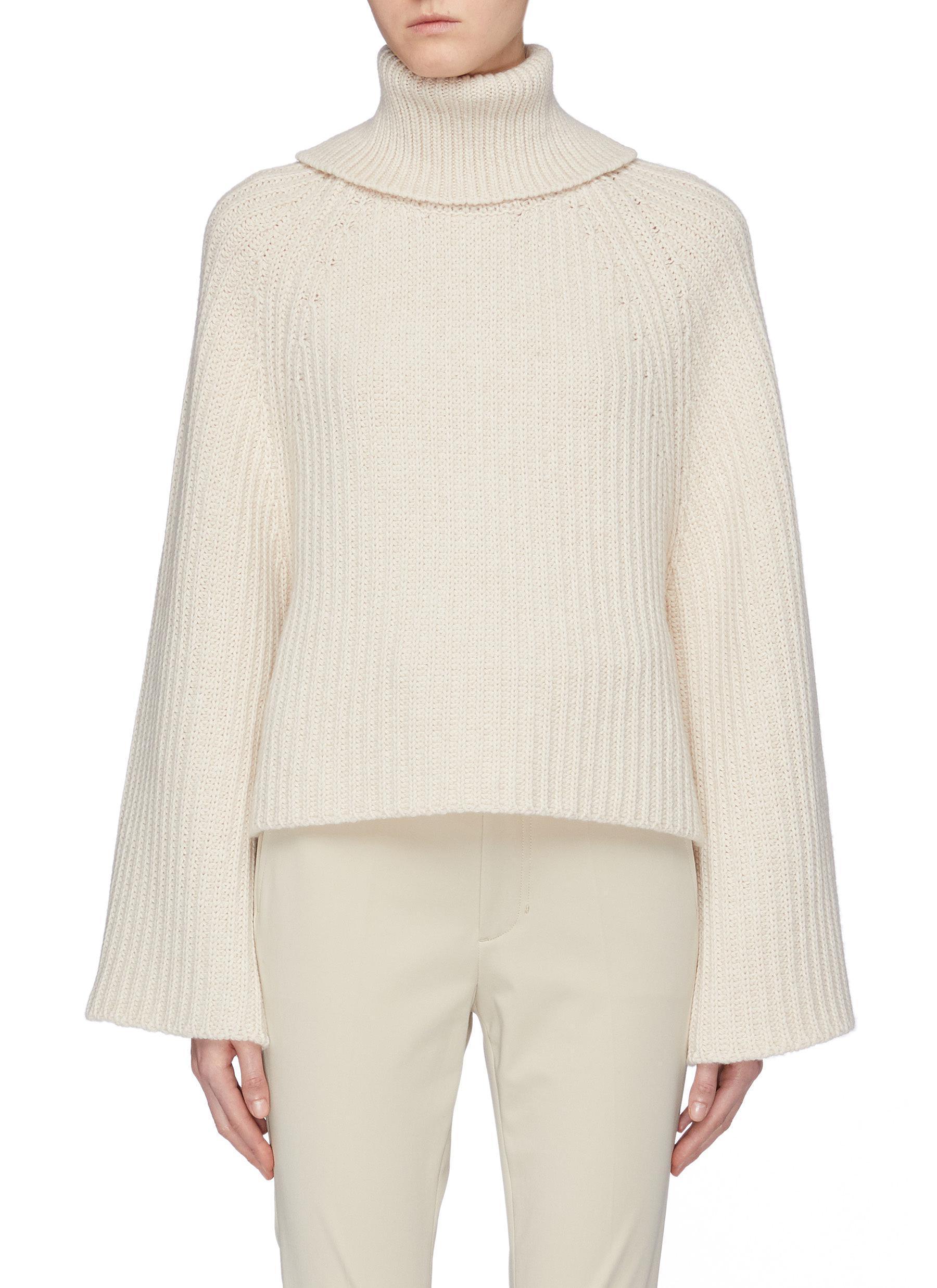 dd518174b3ca75 Rosetta Getty. Women s Natural Open Back Wool-cashmere Rib Knit Turtleneck  Sweater