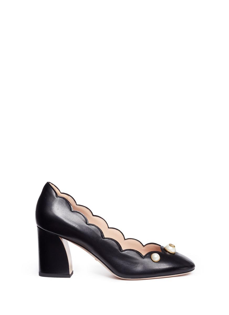 a441443bd38 Gucci Gg Pearl Stud Scalloped Leather Pumps in Black - Lyst