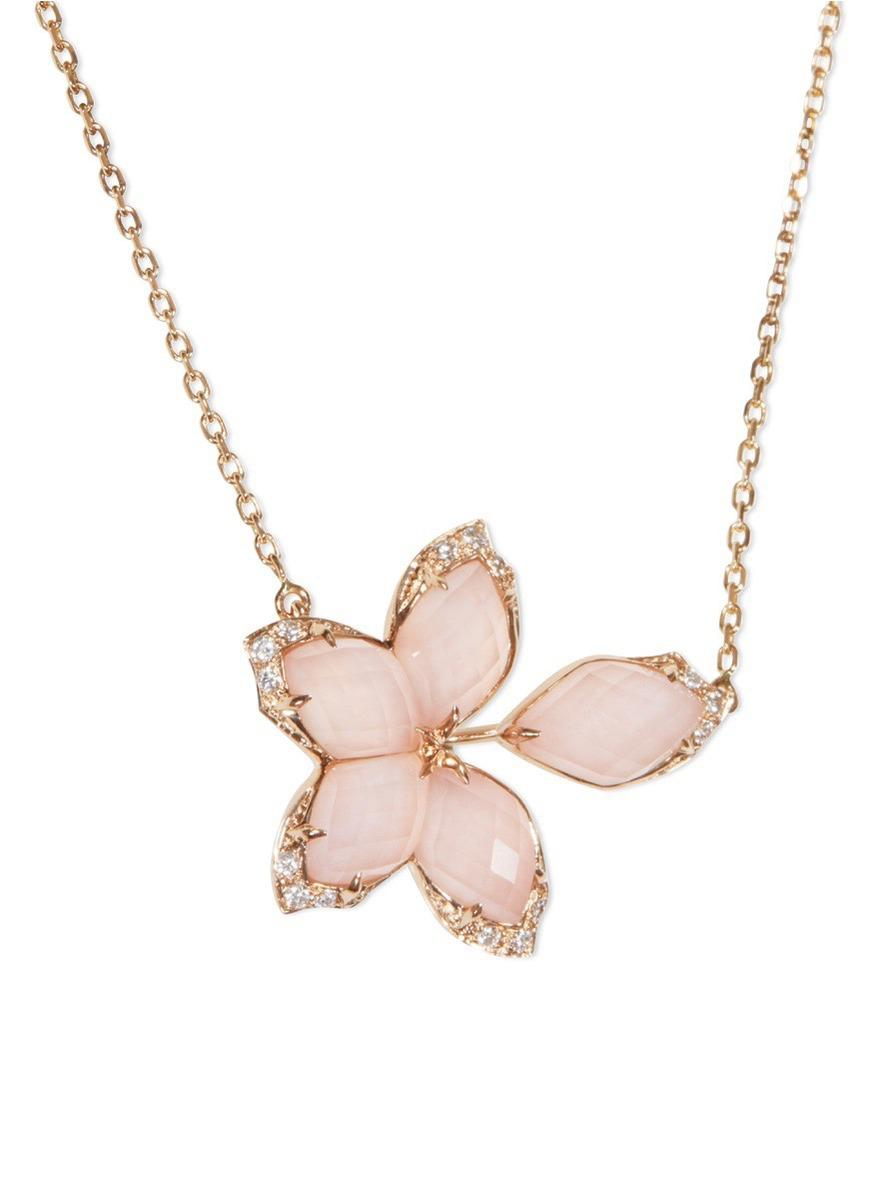c4f40246d5a1 Stephen Webster - Pink Crystal Haze Diamond 18k Rose Gold Floral Pendant  Necklace - Lyst. View fullscreen