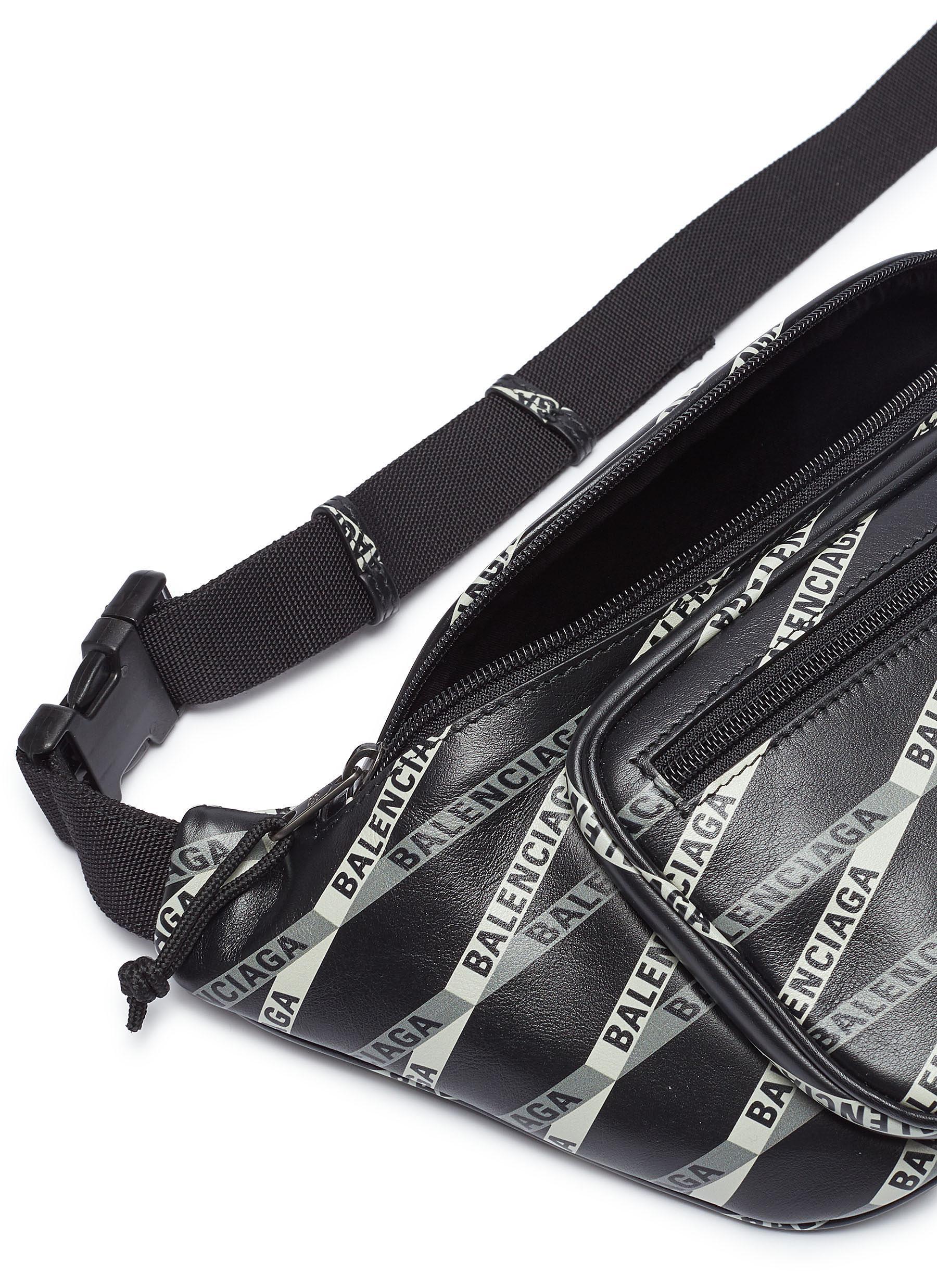 4b5749508c3 Balenciaga - Black 'explorer' Logo Tape Print Leather Belt Bag for Men -  Lyst. View fullscreen