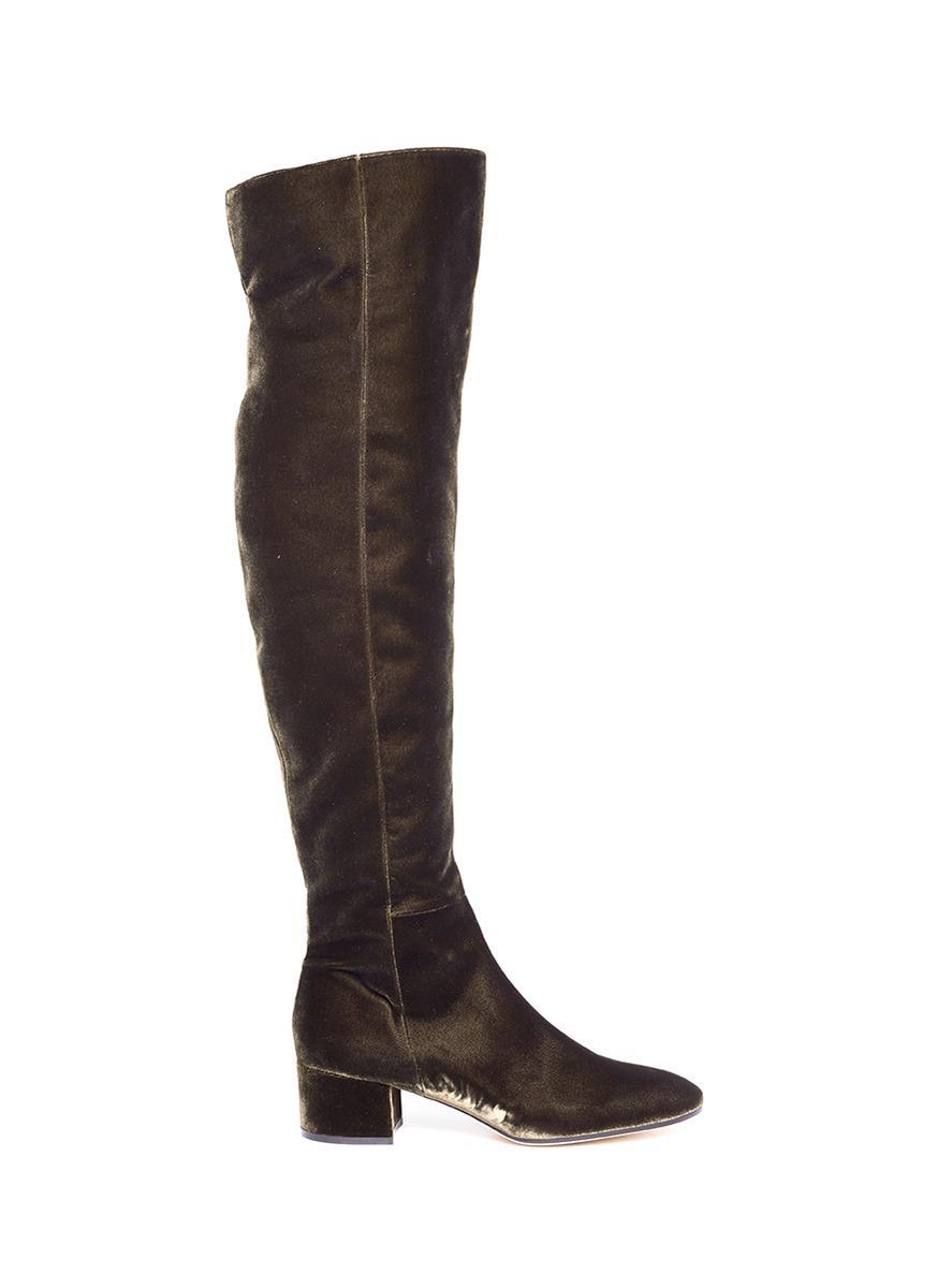gianvito rolling knee high velvet boots in brown
