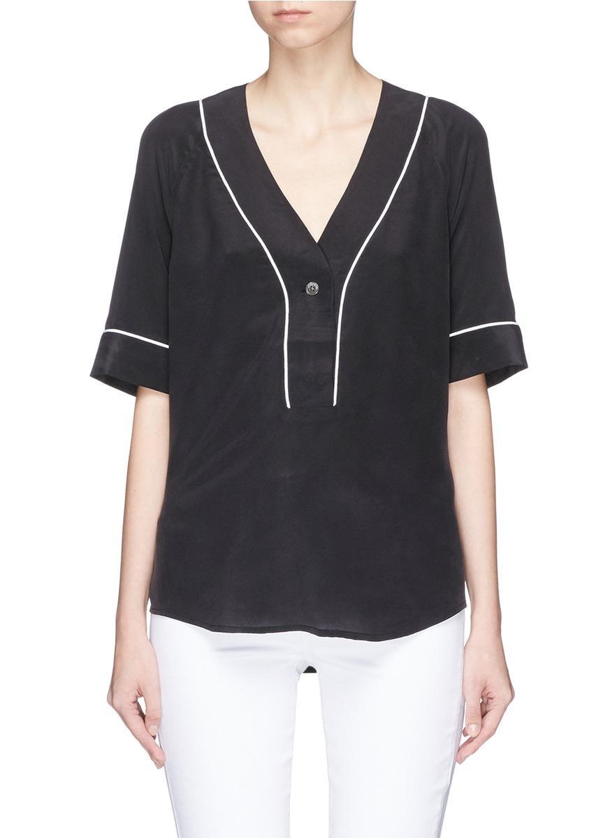 Equipment 39 atley 39 silk crepe baseball shirt in black for Equipment black silk shirt